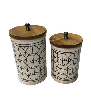 Hudson 43 Farm 2 pk Ceramic Canisters with Wooden Lid