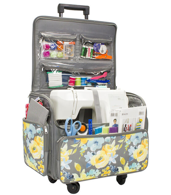 Everything Mary 4 wheel Rolling Sewing Case Floral