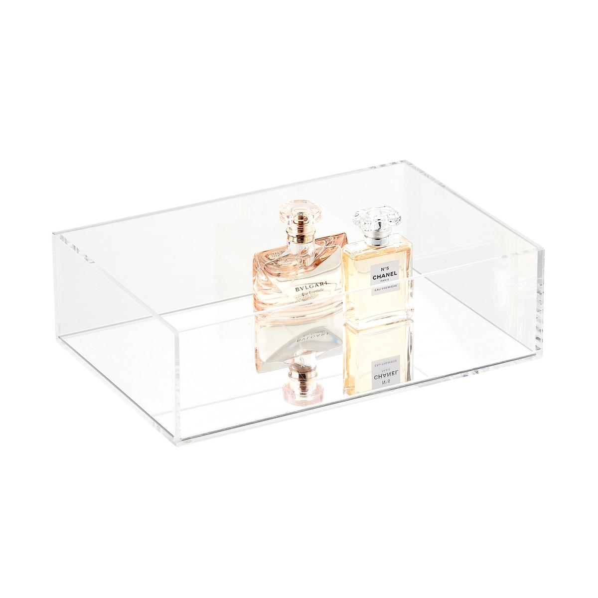 Acrylic tray with mirror base for storage from The Container Store