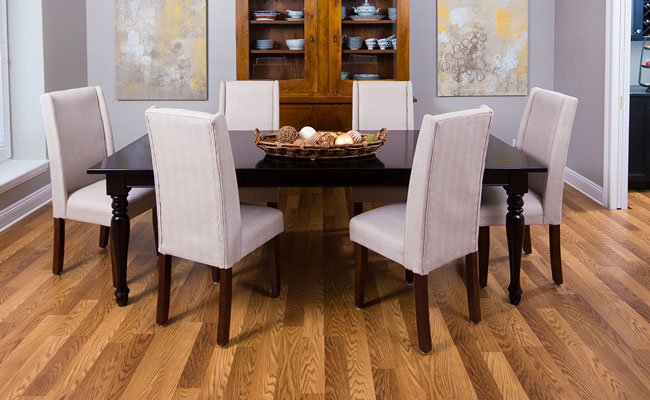 laminate flooring with yellow undertone and purple grey wall paint color
