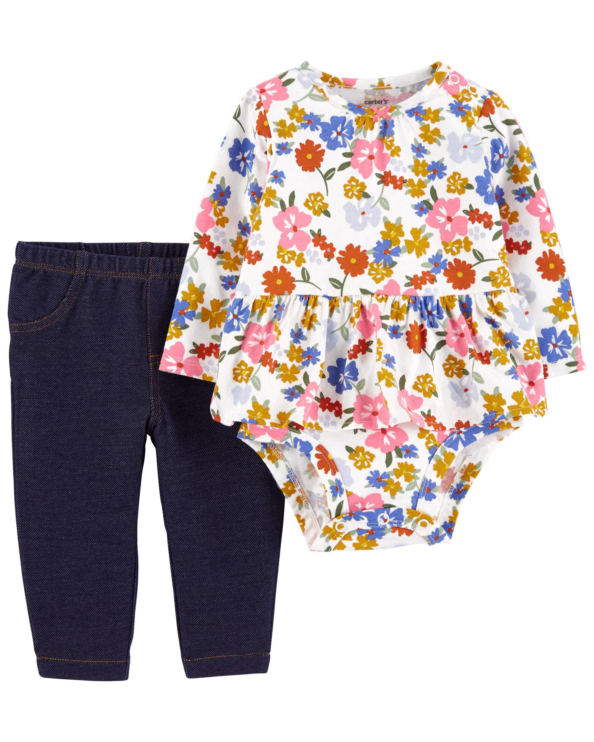 Carters 2-Piece Floral Peplum Bodysuit Pant Set