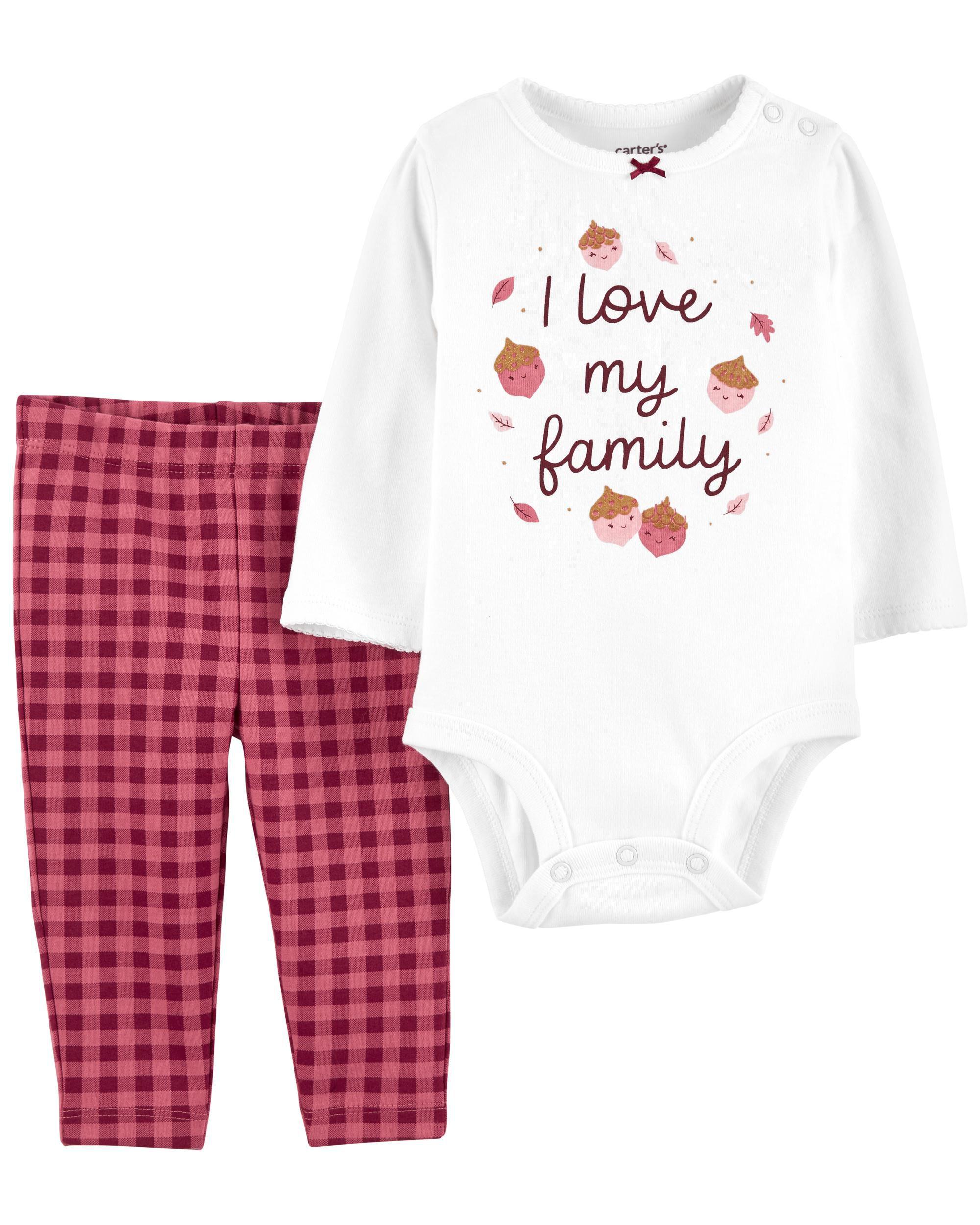 Carters 2-Piece I Love My Family Bodysuit Pant Set