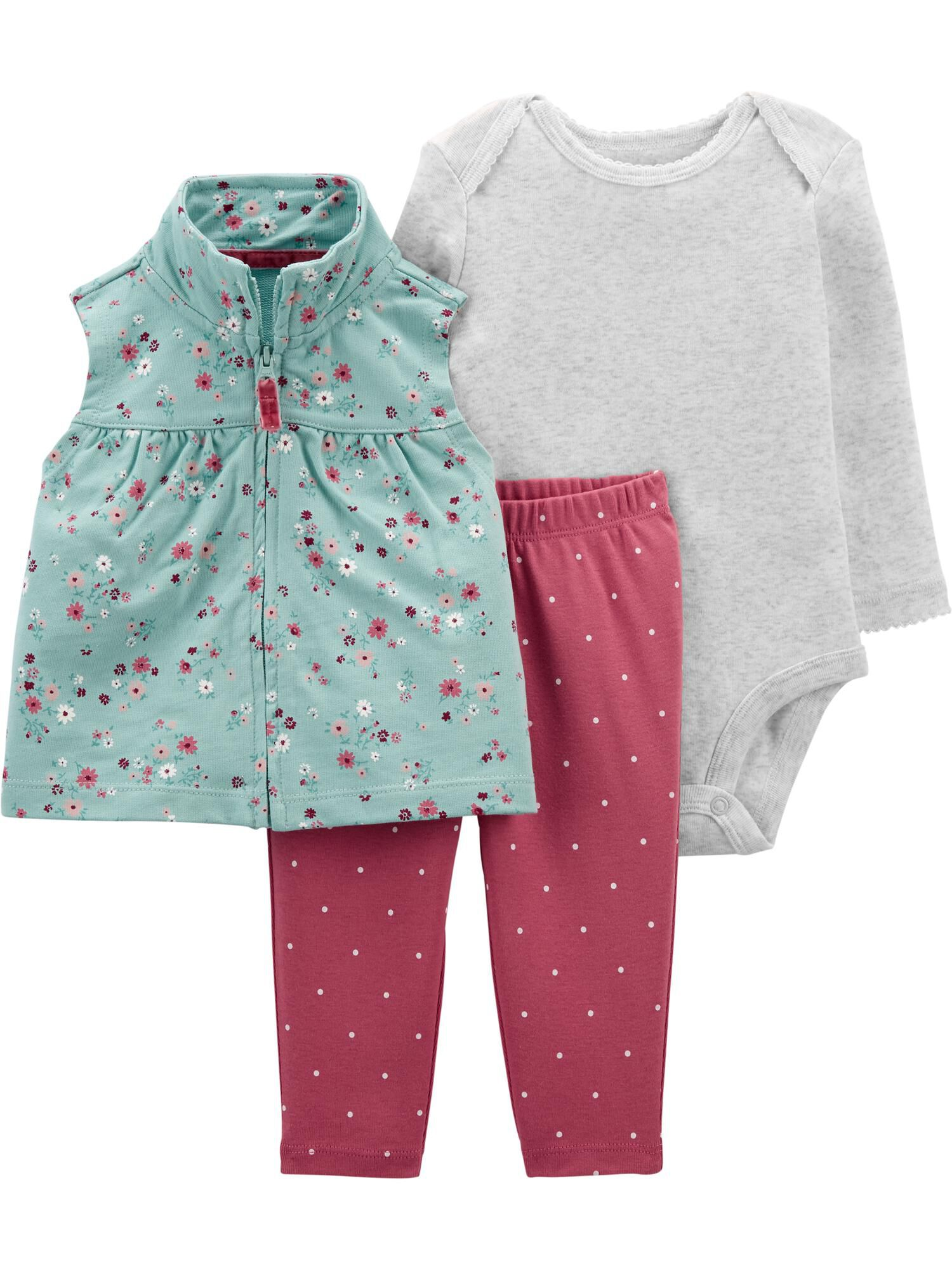 Carters 3-Piece Floral Little Vest Set