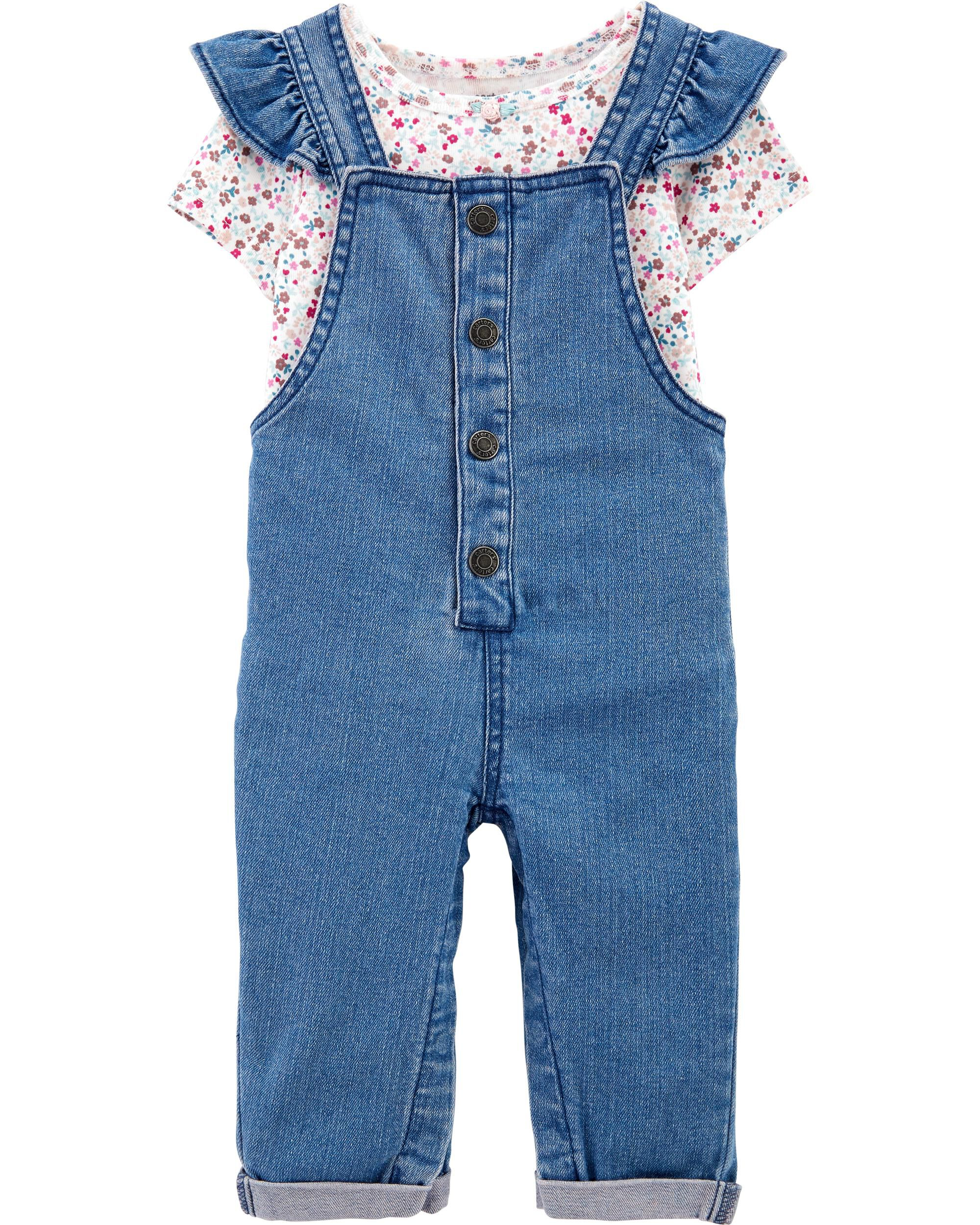 Carters 2-Piece Floral Bodysuit & Overall Set