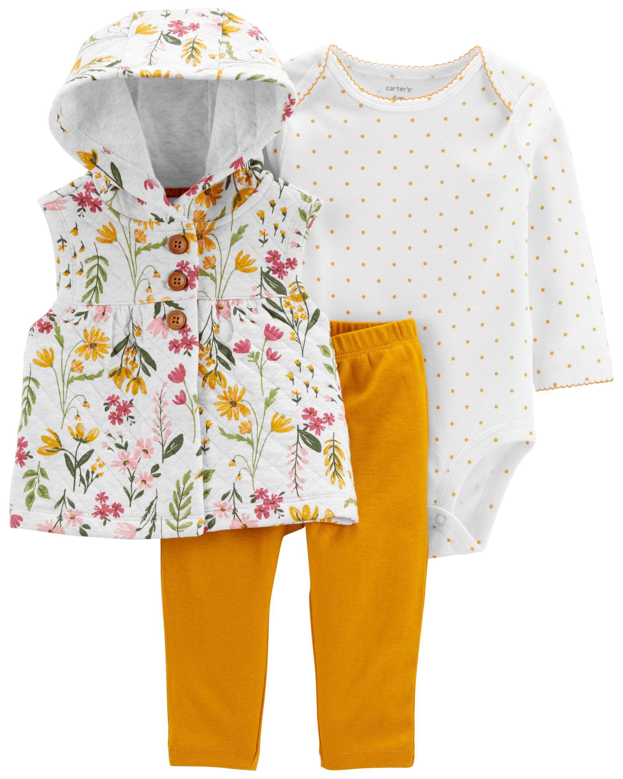 Carters 3-Piece Floral Vest Set