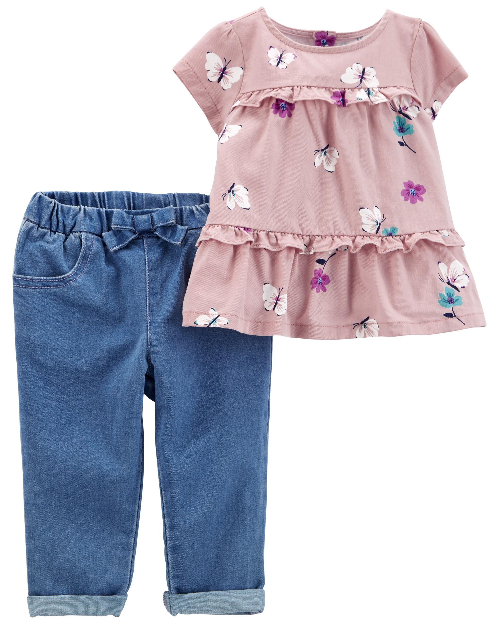Carters 2-Piece Floral Twill Top & Jean Set