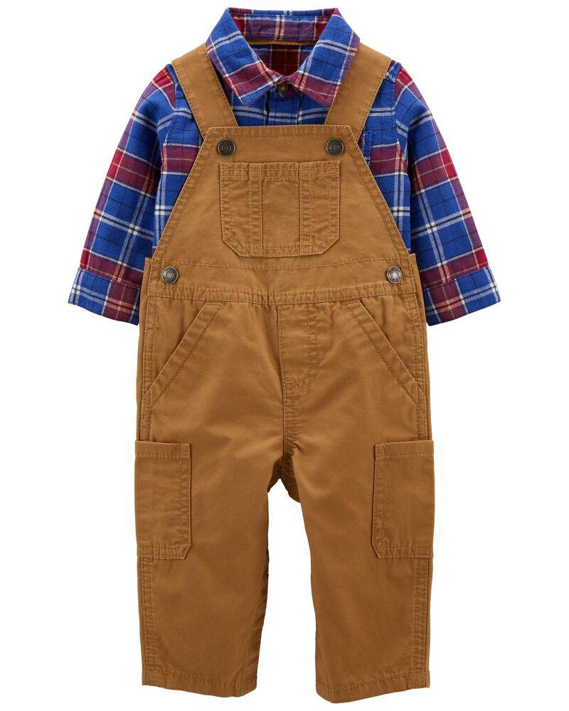 2-Piece Plaid Shirt & Overalls Set + Free shipping at  at Carter's!