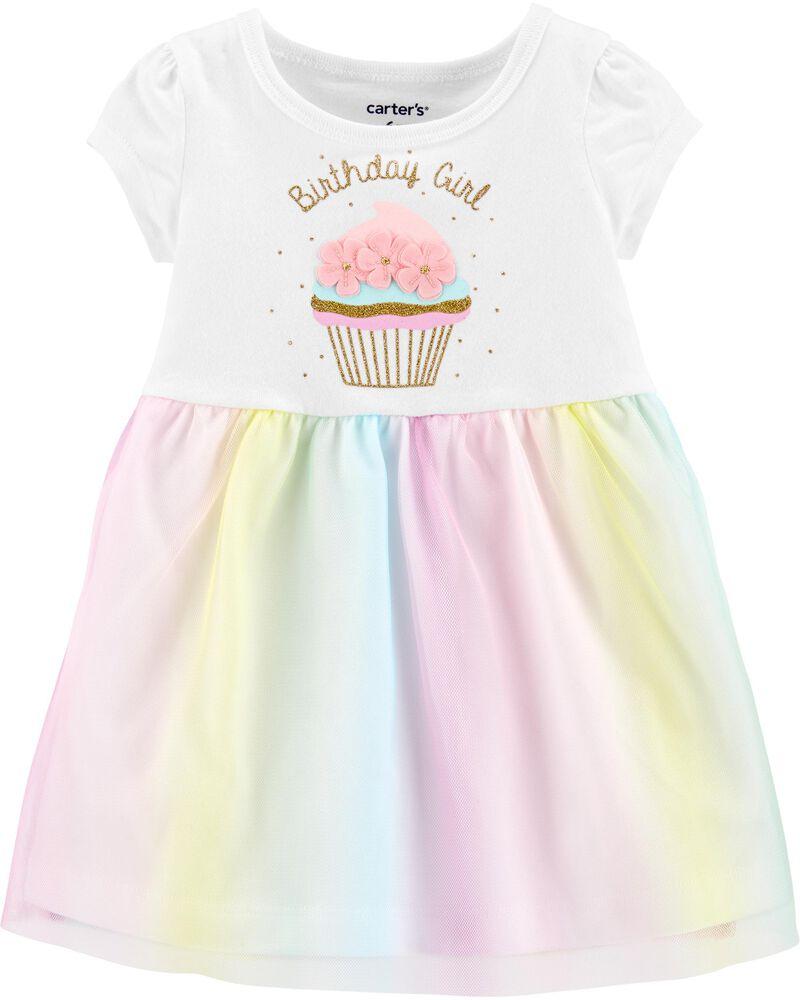 Glitter Birthday Girl Tutu Jersey Dress, , hi-res