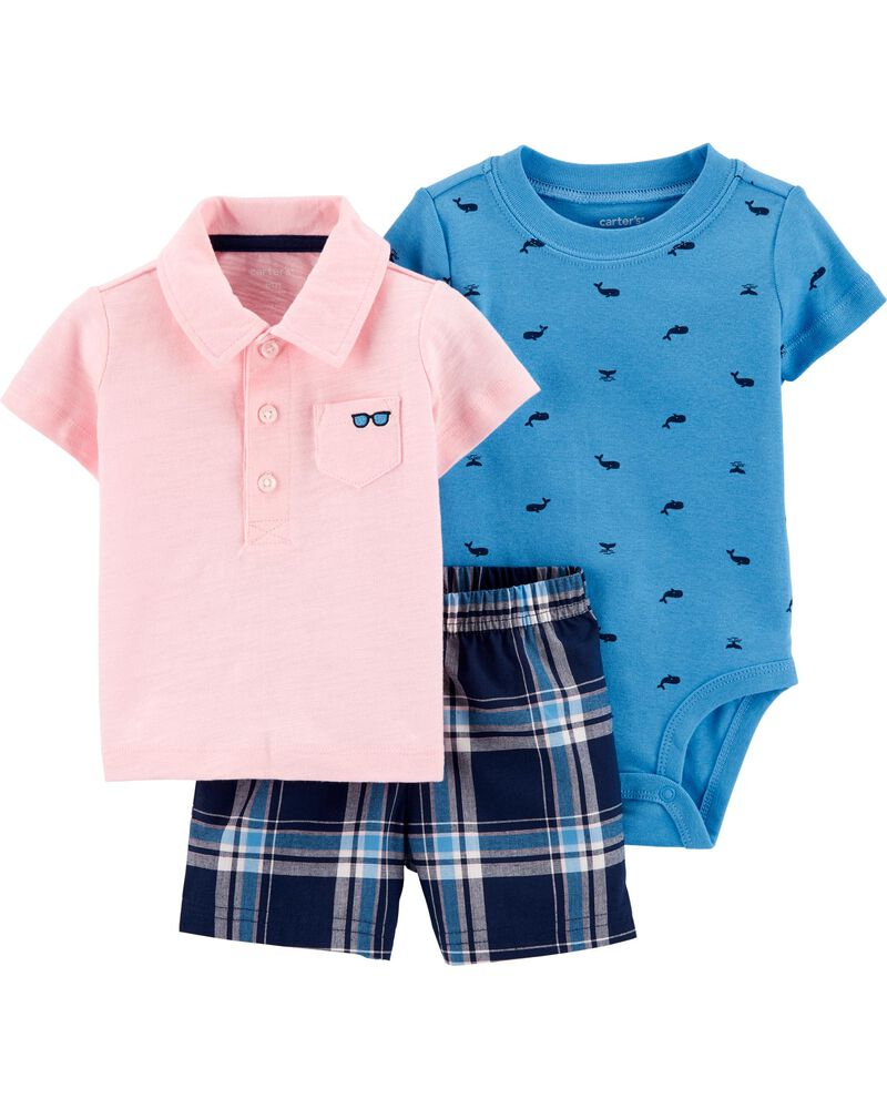 3-Piece Polo Little Short Set, , hi-res
