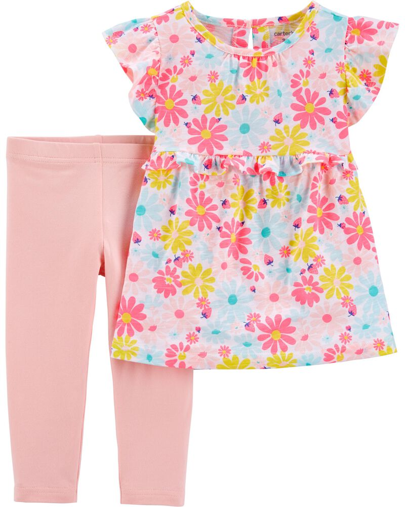 2-Piece Floral Ruffle Top & Legging Set, , hi-res