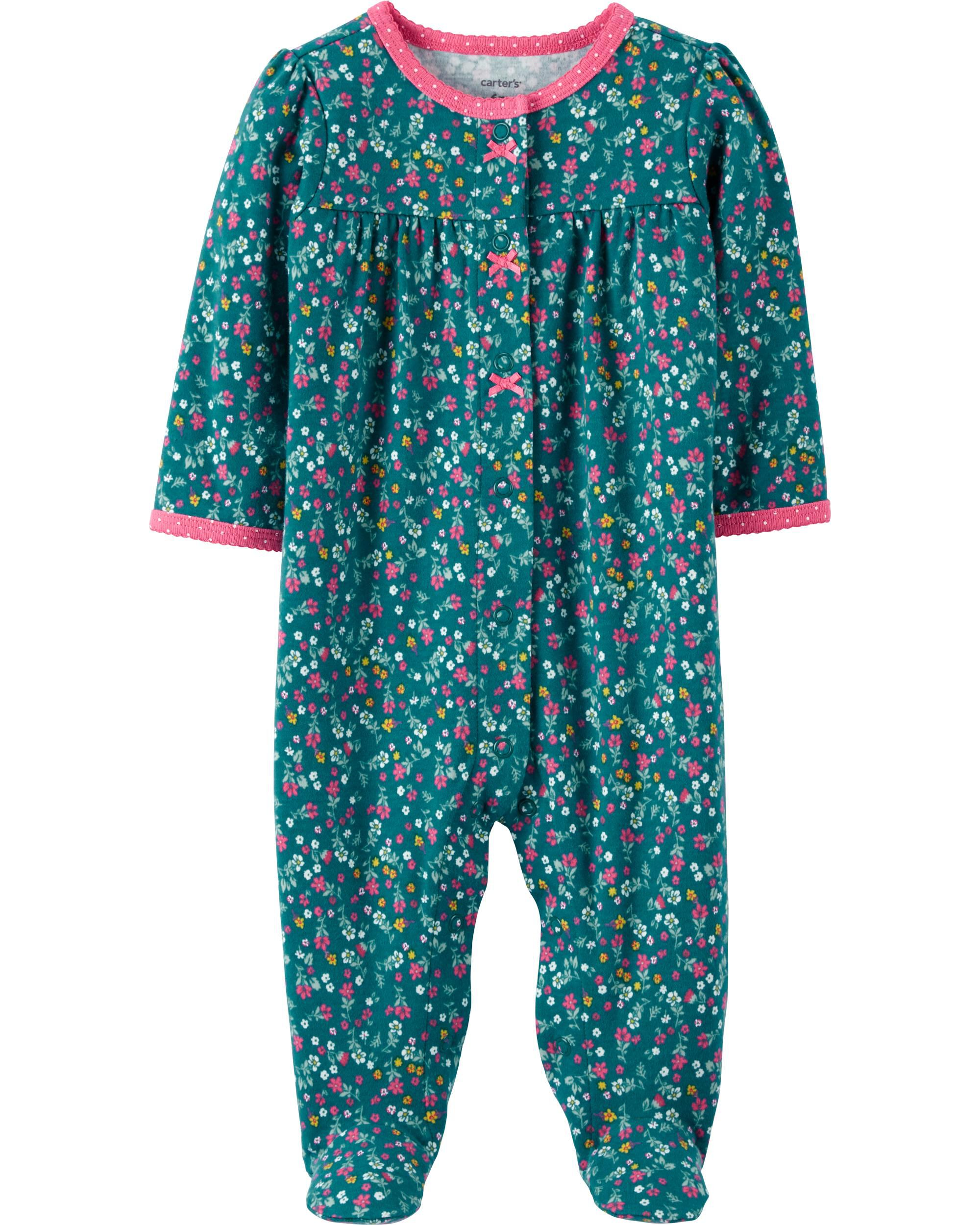 Carters Floral Snap-Up Cotton Sleep & Play