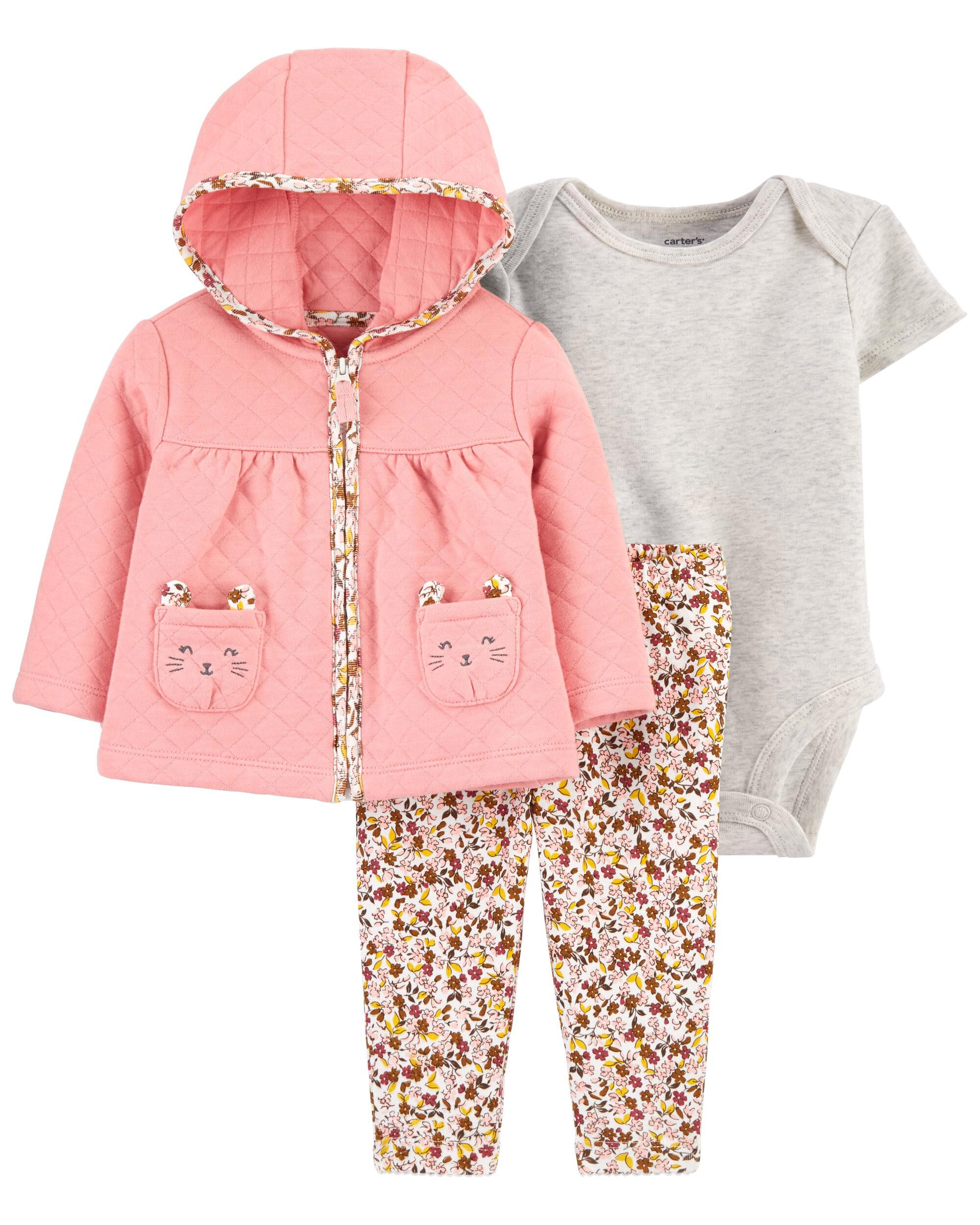 Carters 3-Piece Quilted Little Cardigan Set