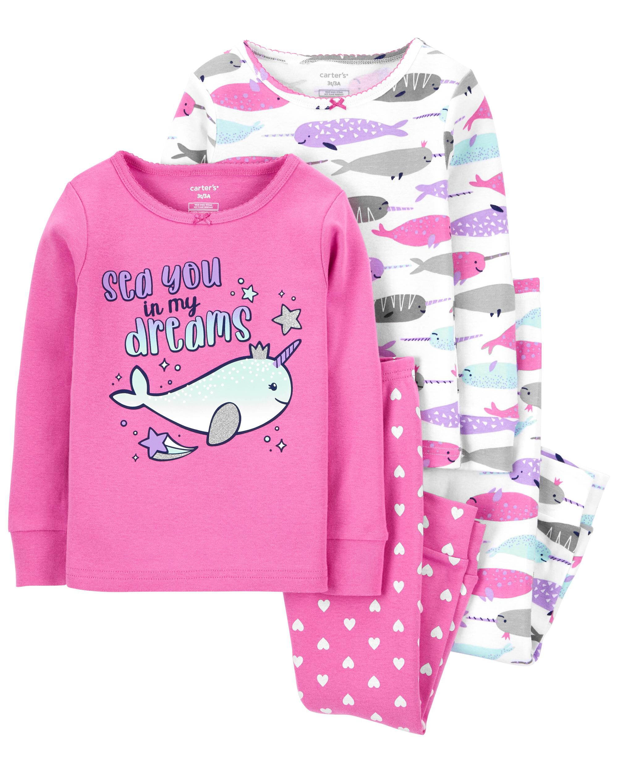 Carters 4-Piece Narwhal 100% Snug Fit Cotton PJs
