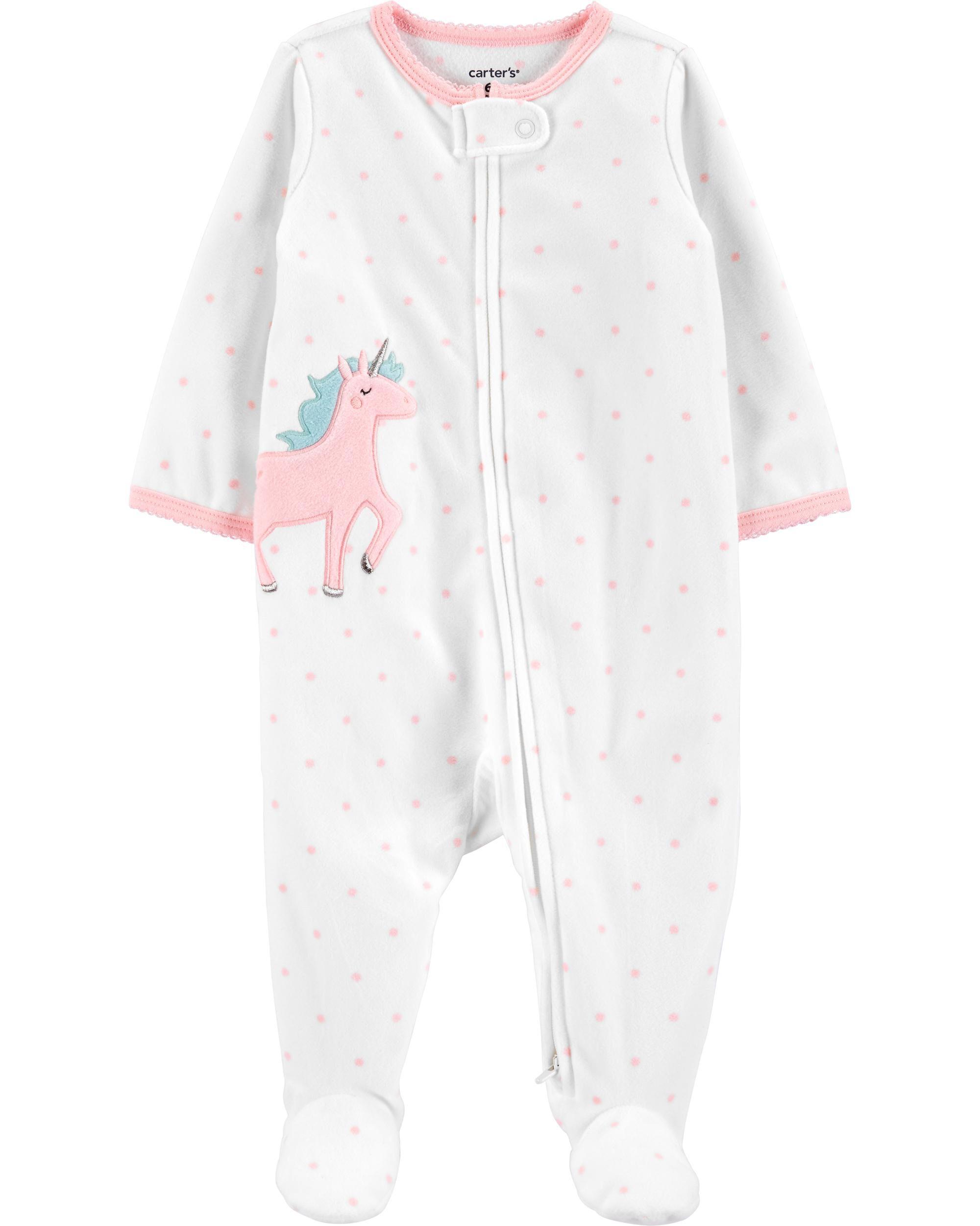 Carters Unicorn Zip-Up Fleece Sleep & Play