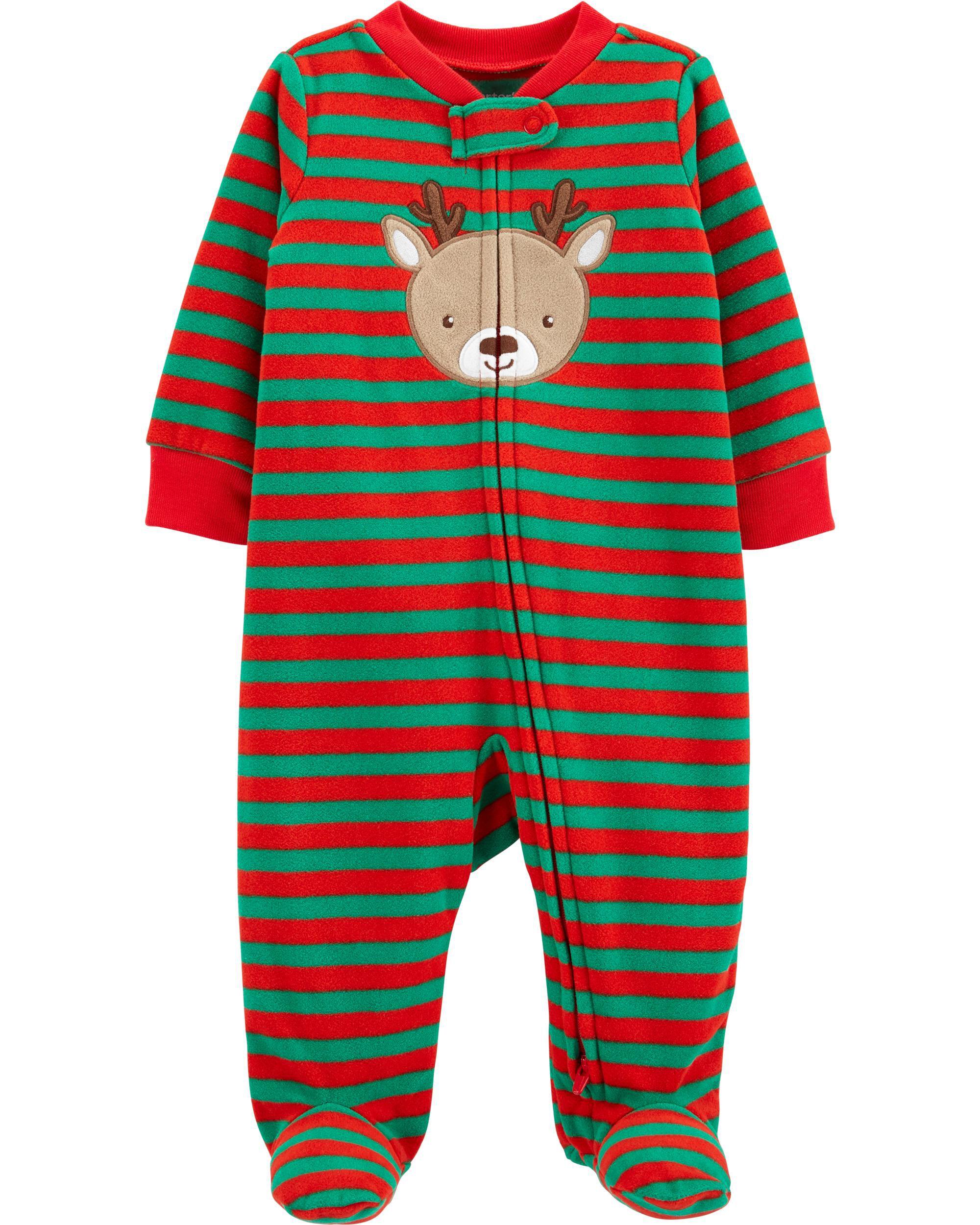 Carters Christmas Reindeer Zip-Up Fleece Sleep & Play
