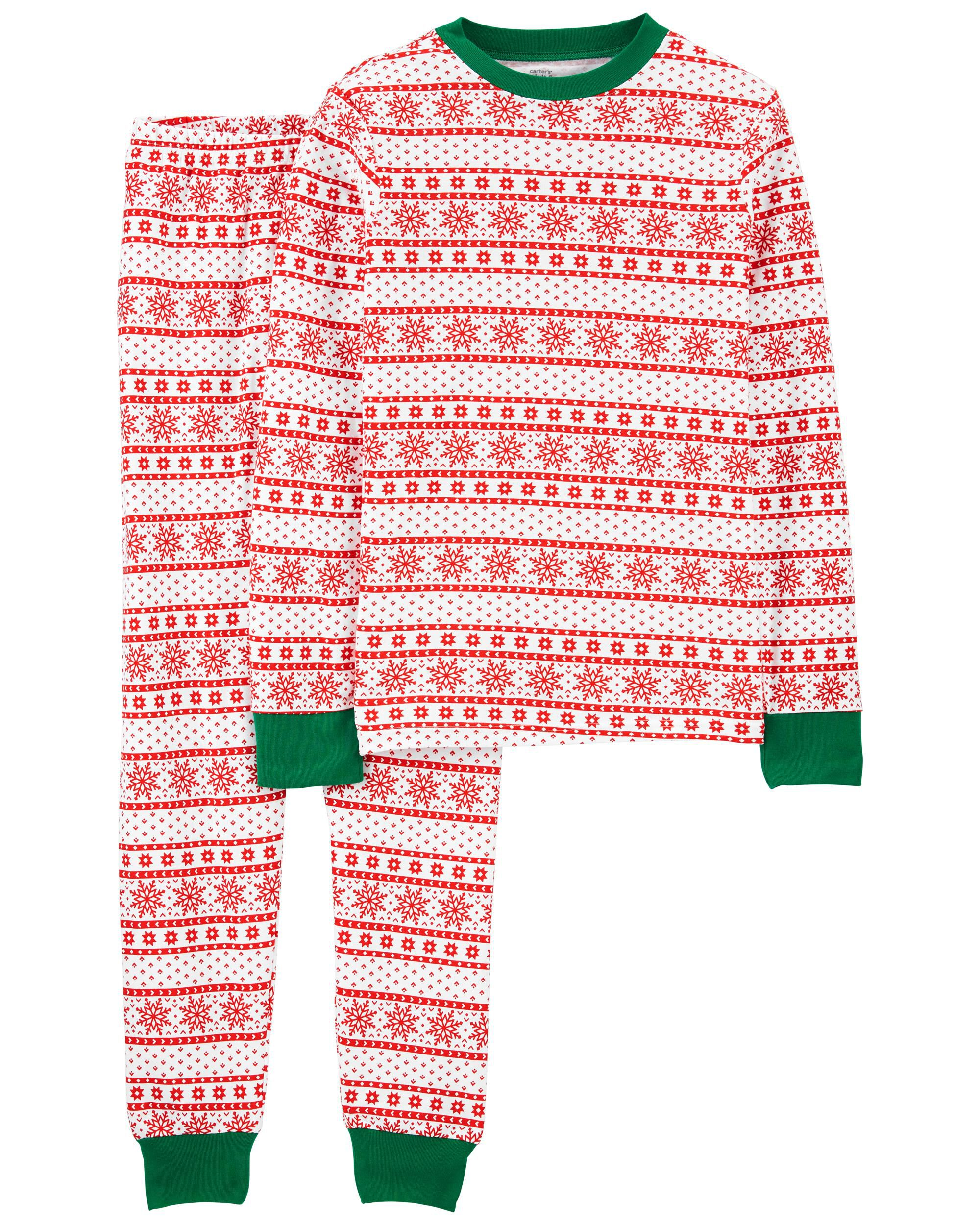 Carters 2-Piece Fair Isle Adult Unisex Christmas 100% Cotton PJs