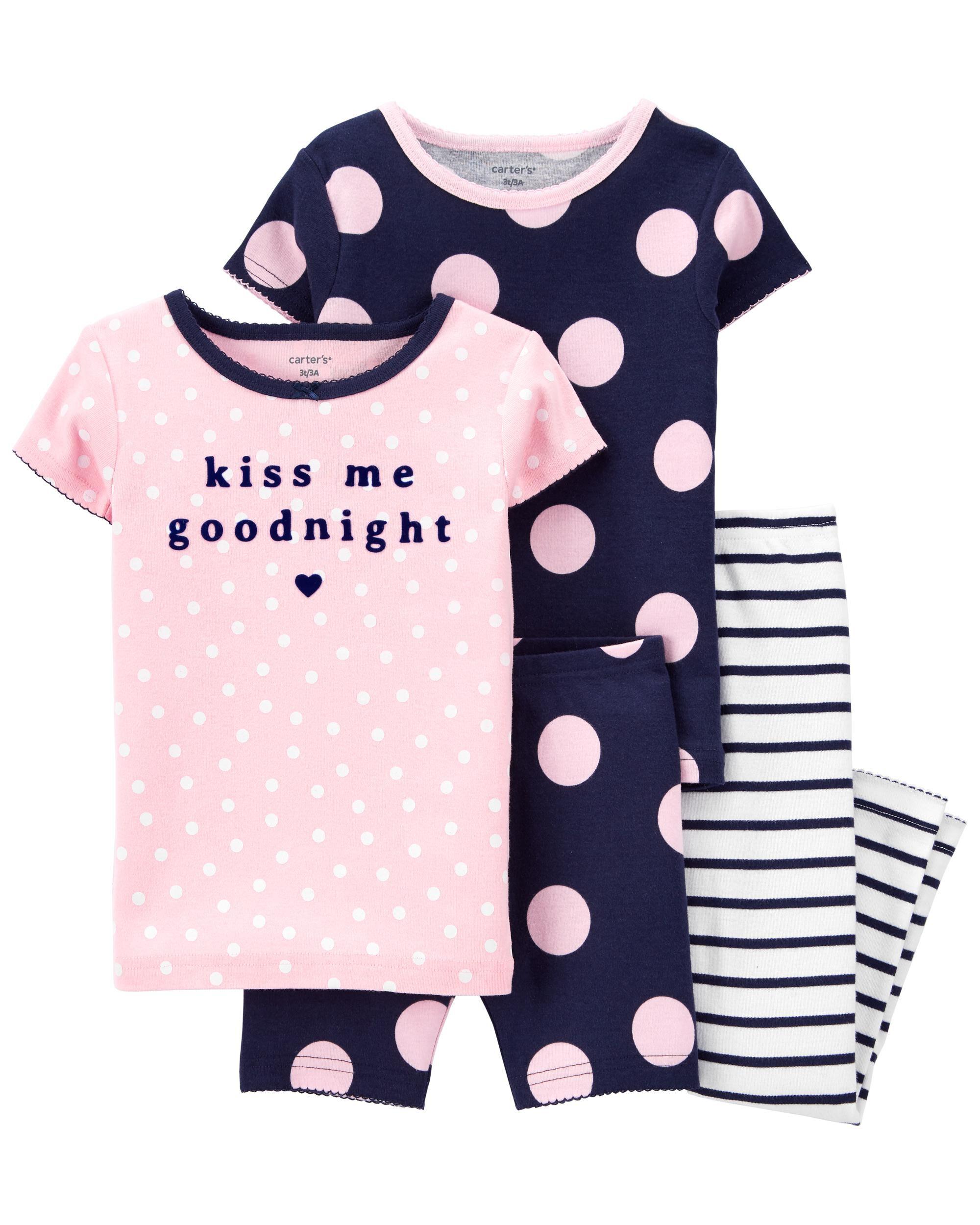 Carters 4-Piece Polka Dots 100% Snug Fit Cotton PJs