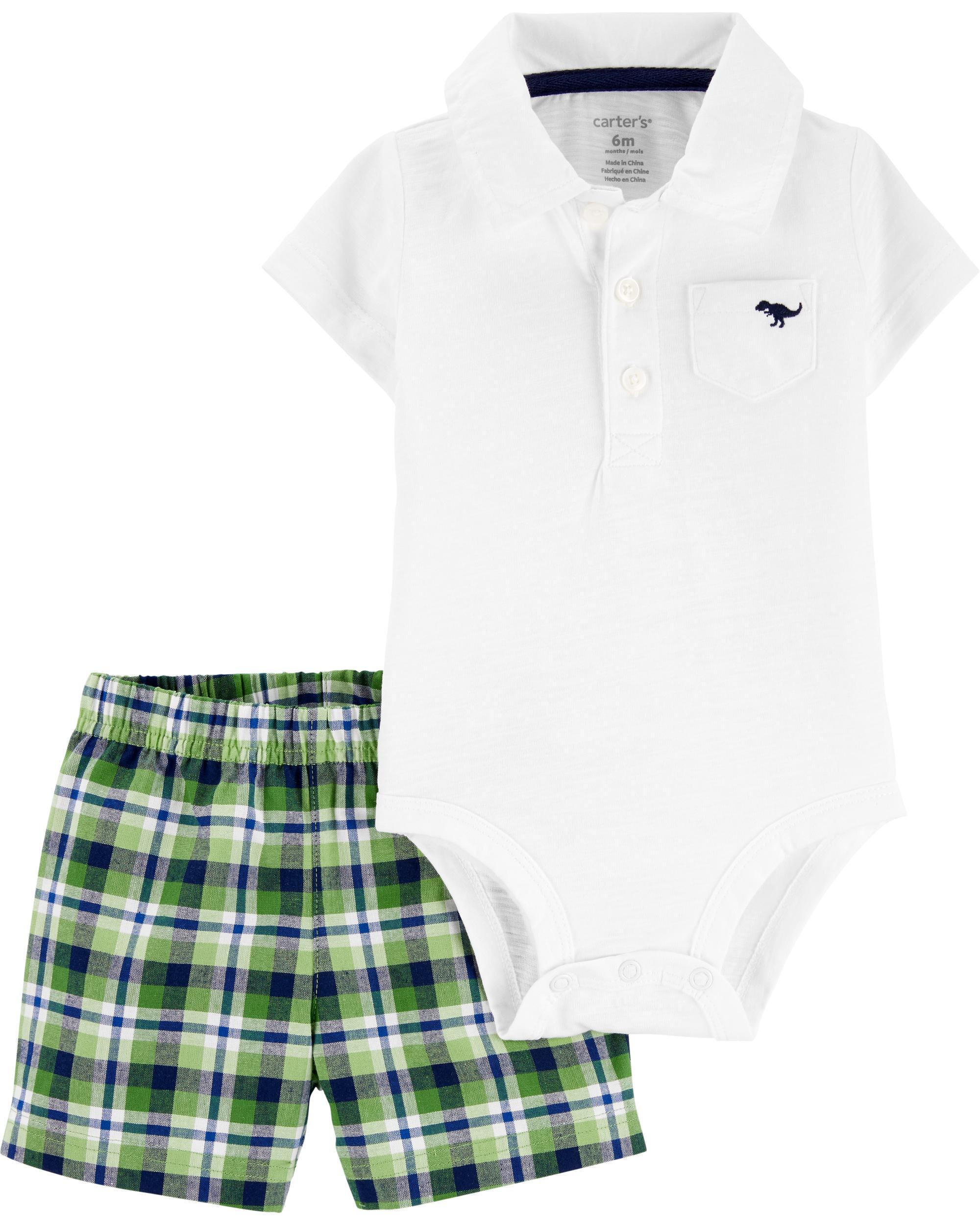 Carters 2-Piece Polo Bodysuit Short Set