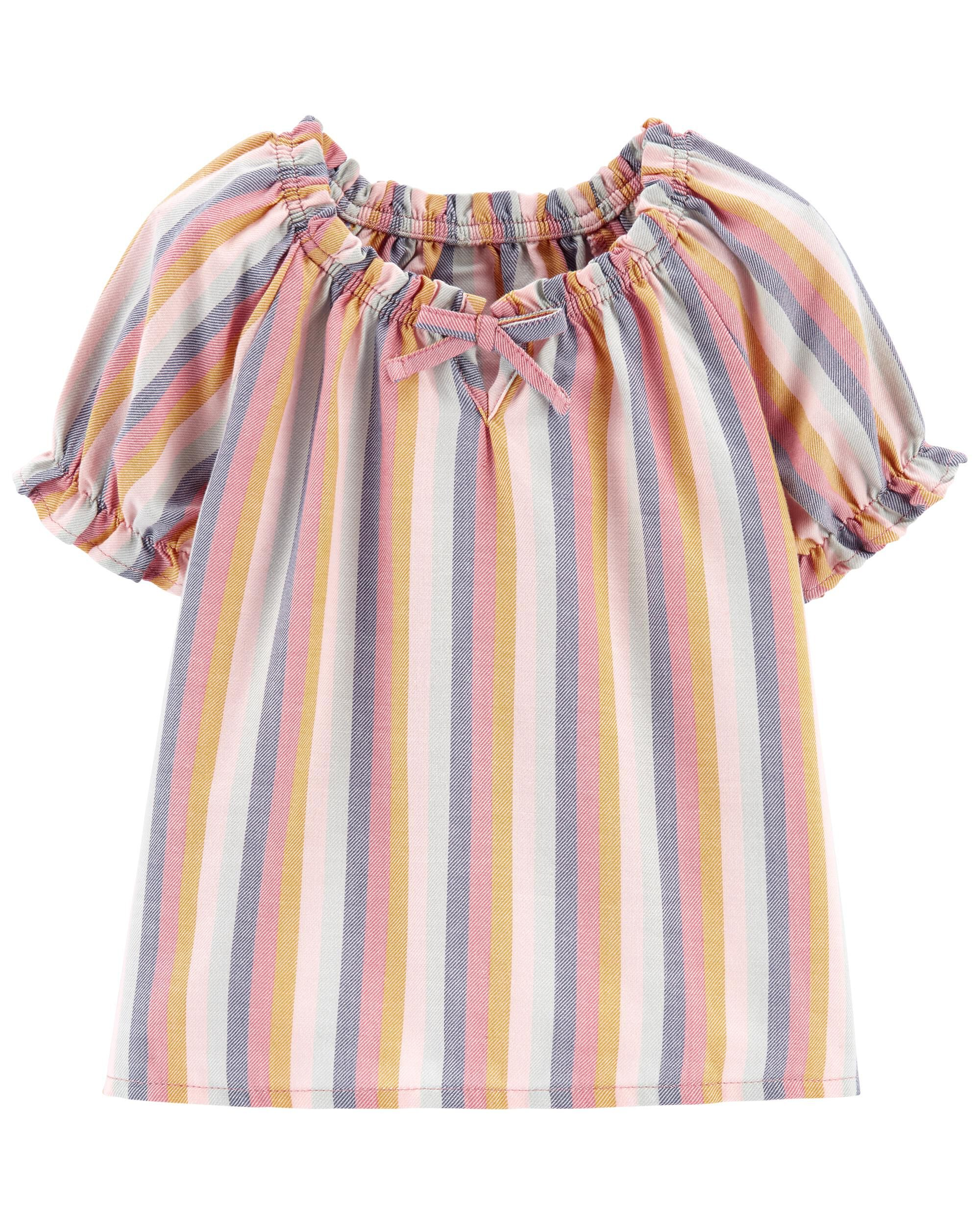 Carters Striped Puff Sleeve Top