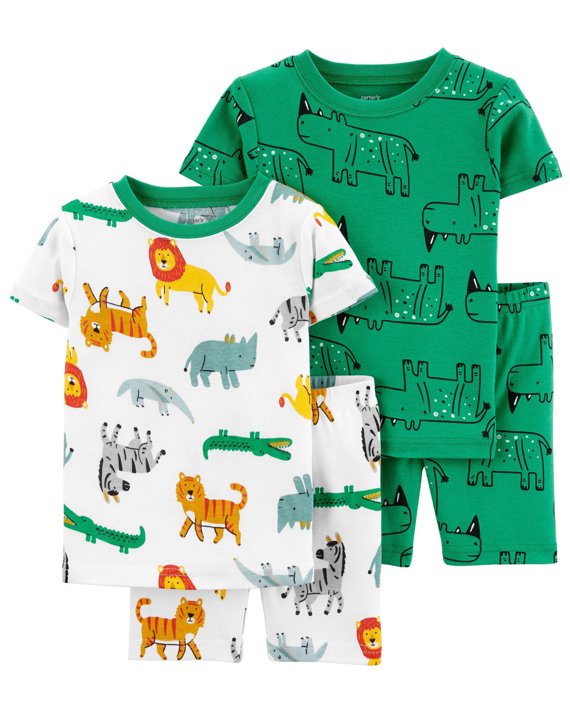 Carters 4-Piece Safari 100% Snug Fit Cotton PJs