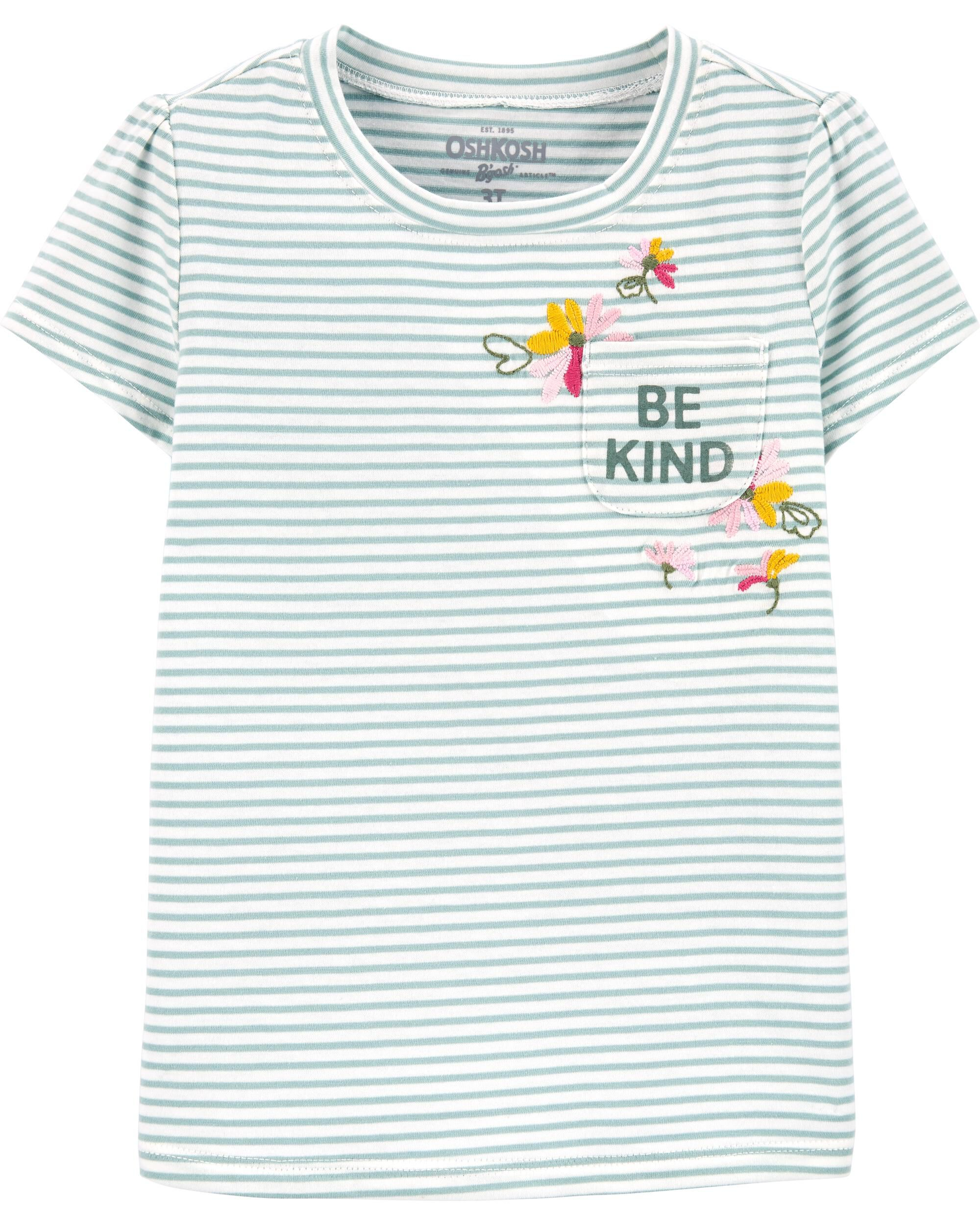 Carters Floral Striped Pocket Tee