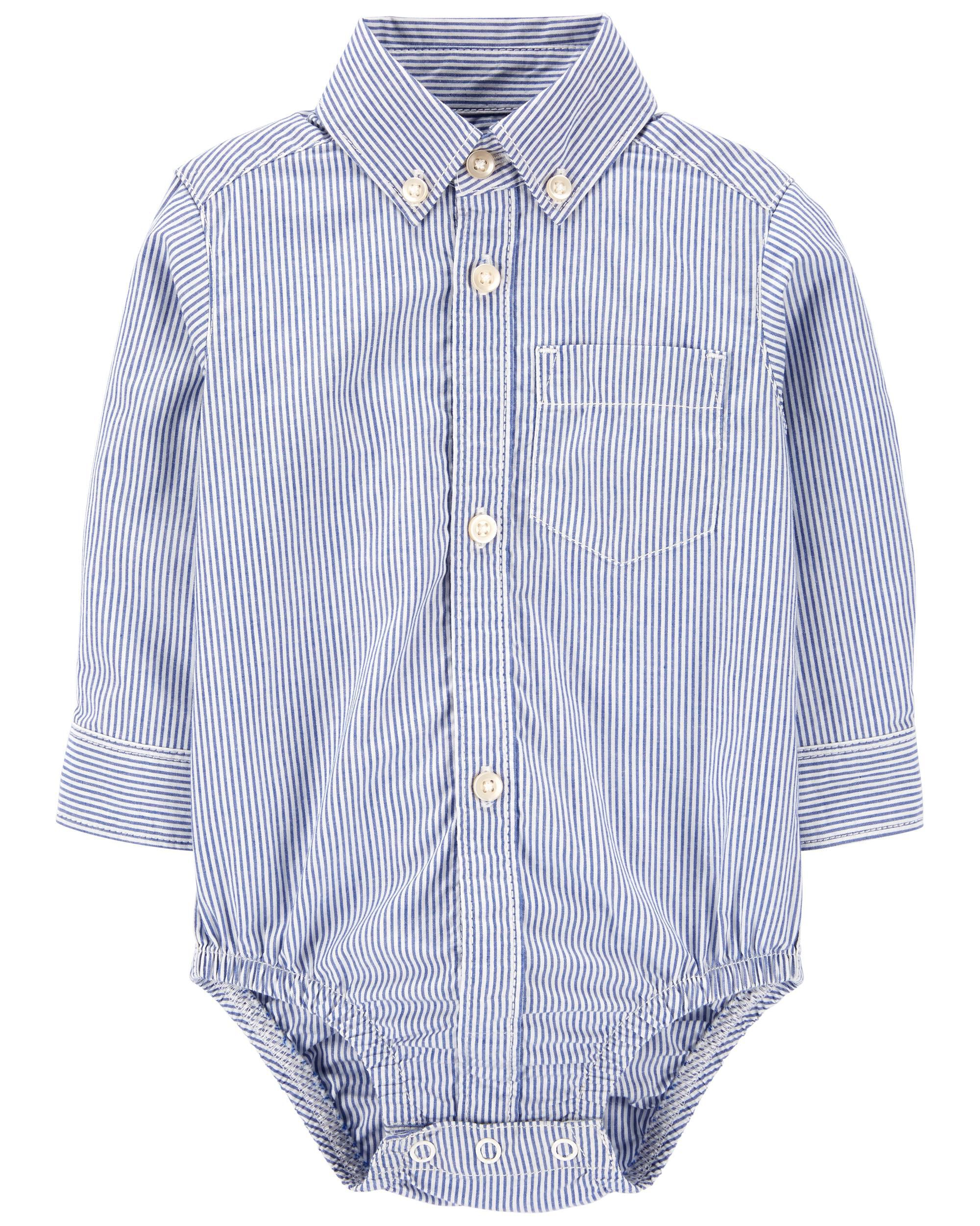 Carters Striped Poplin Button-Front Bodysuit