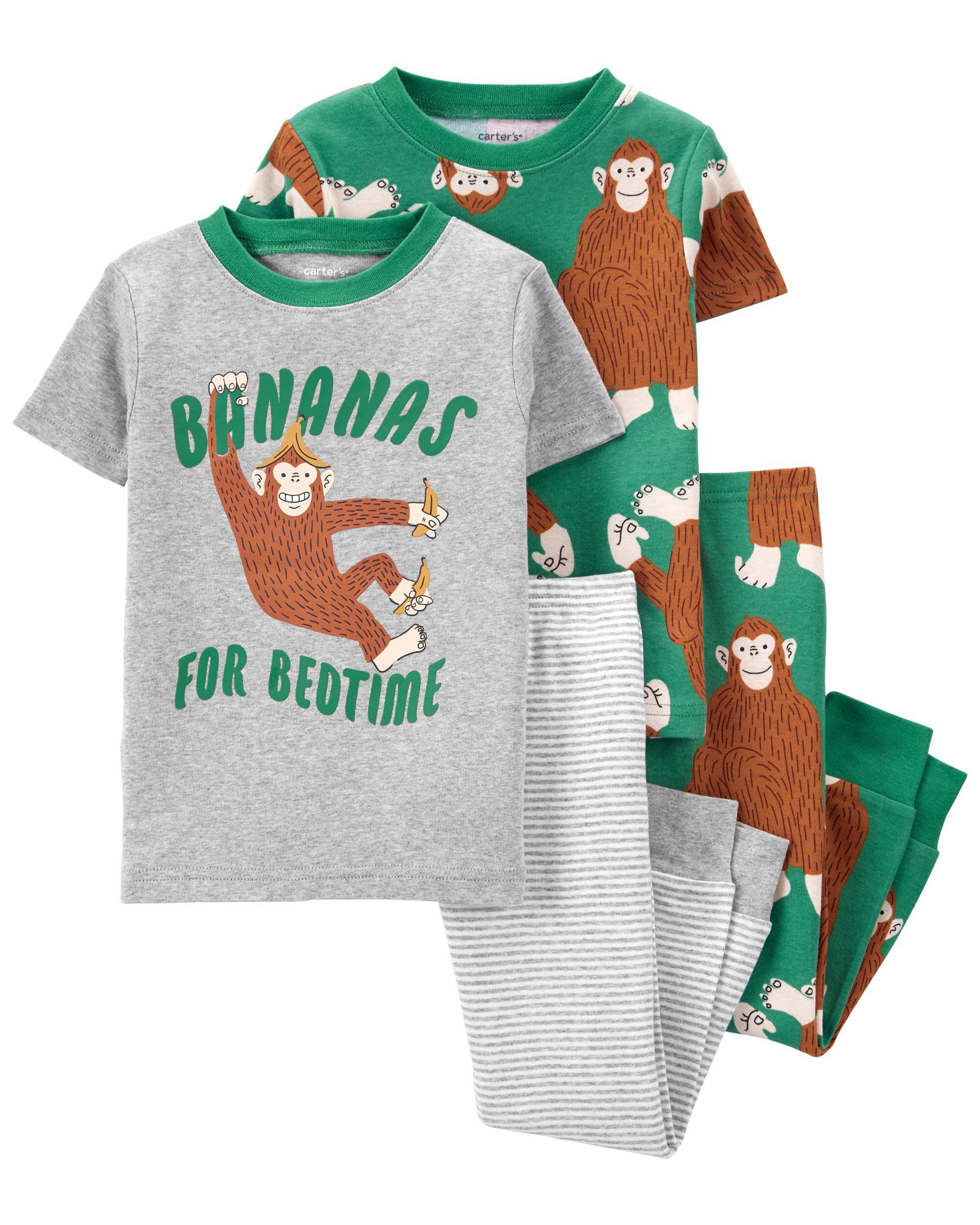 Carters 4-Piece Gorilla 100% Snug Fit Cotton PJs