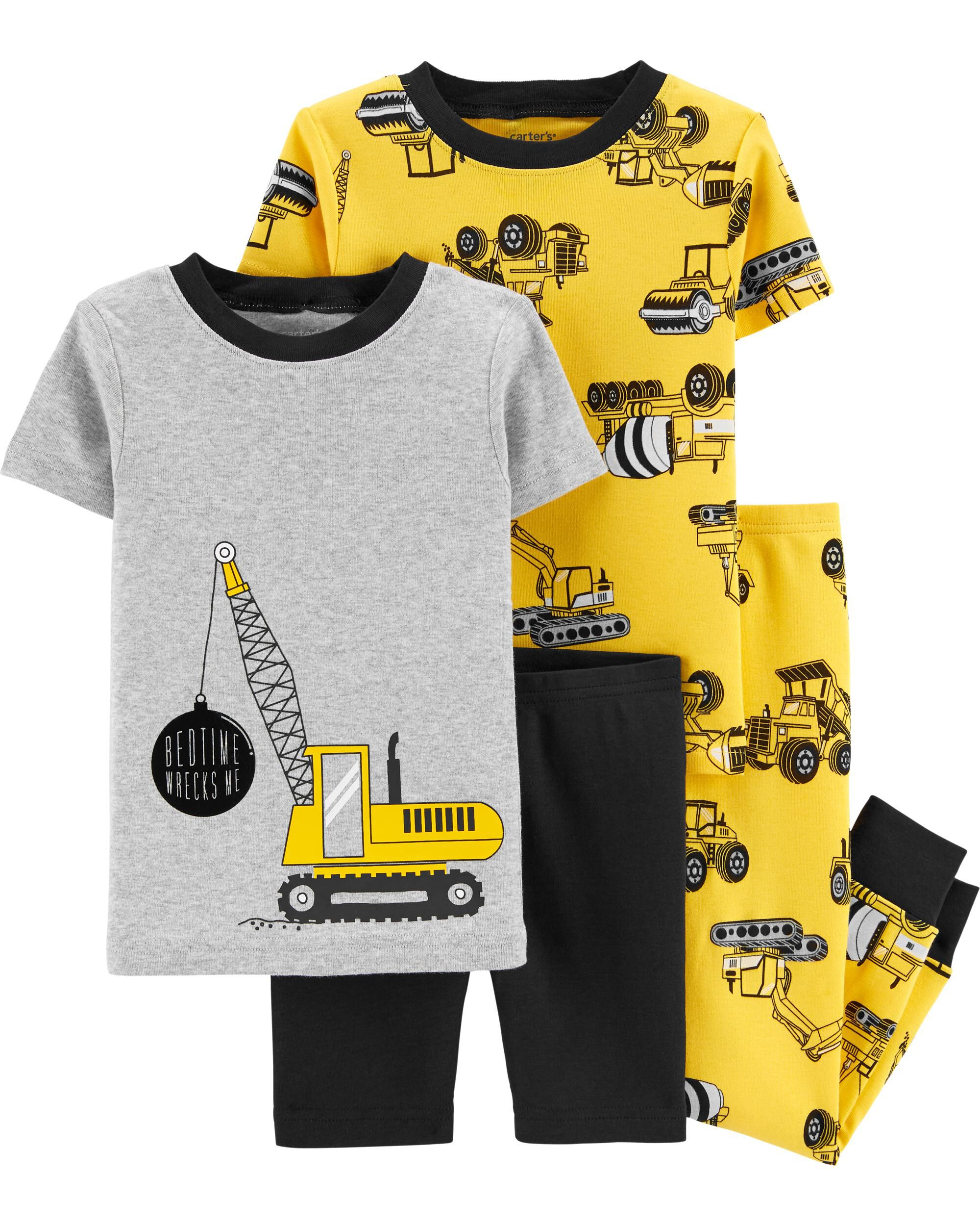 Carters 4-Piece Construction 100% Snug Fit Cotton PJs