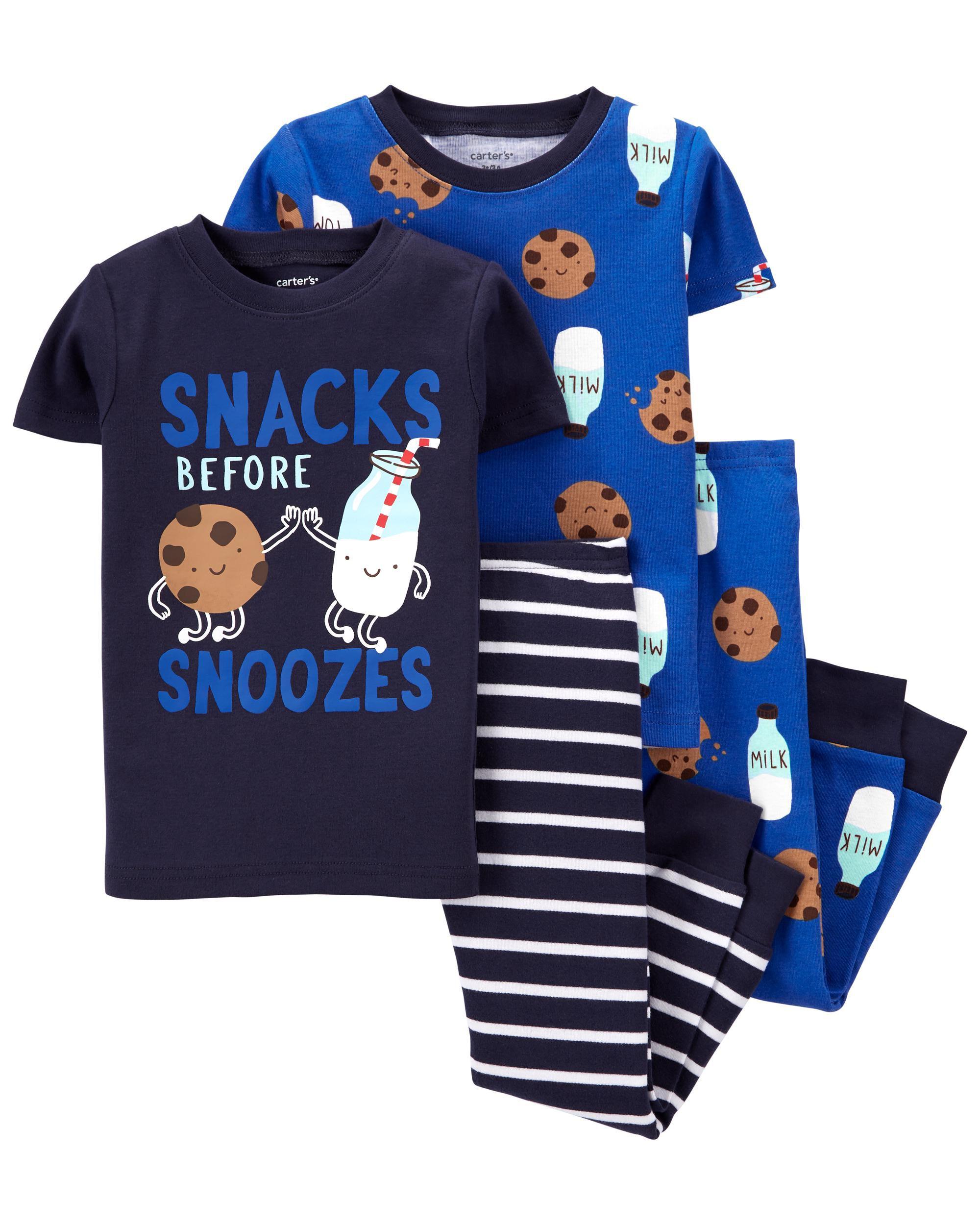 Carters 4-Piece Milk & Cookies 100% Snug Fit Cotton PJs
