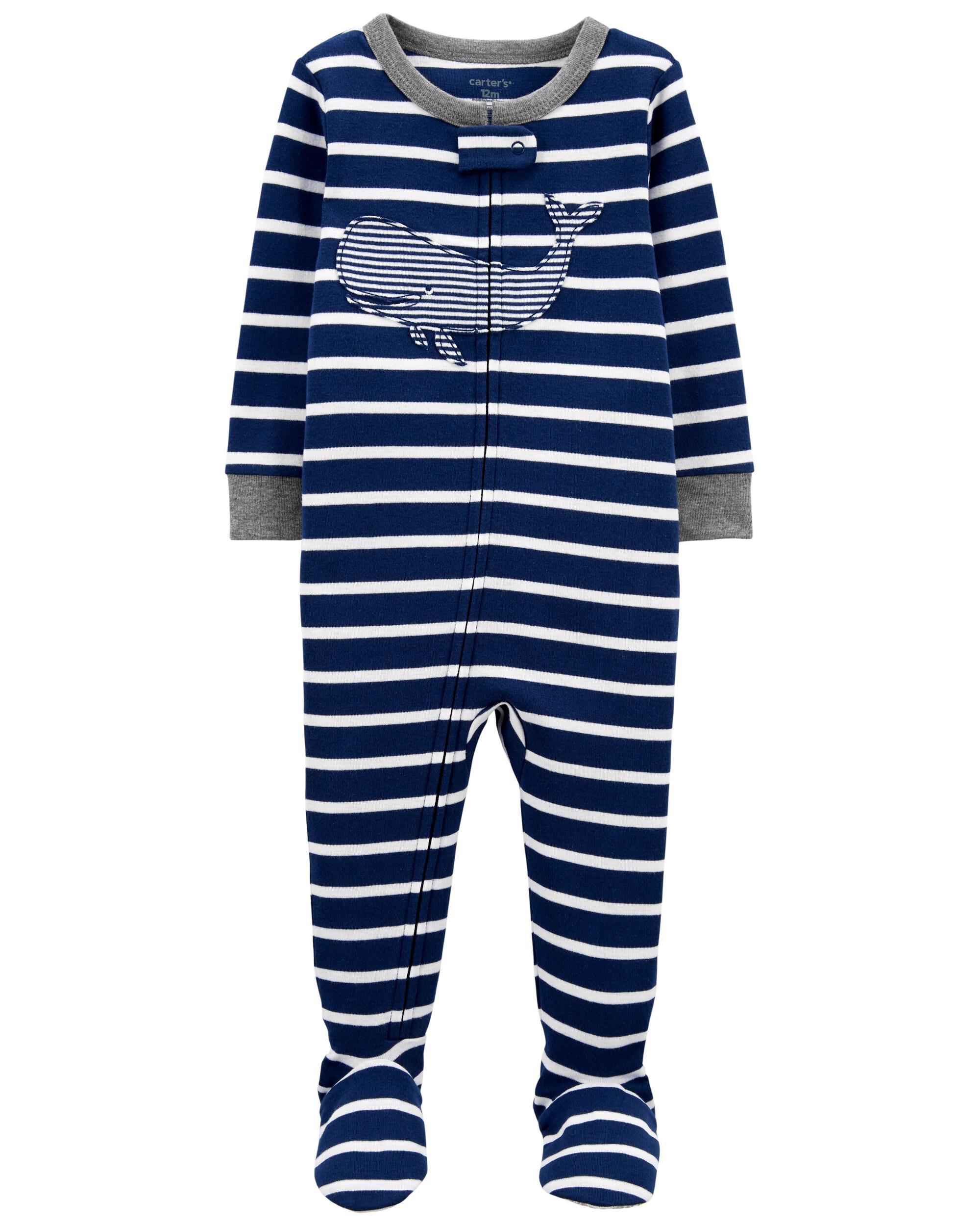 Carters 1-Piece Whale 100% Snug Fit Cotton Footie PJs