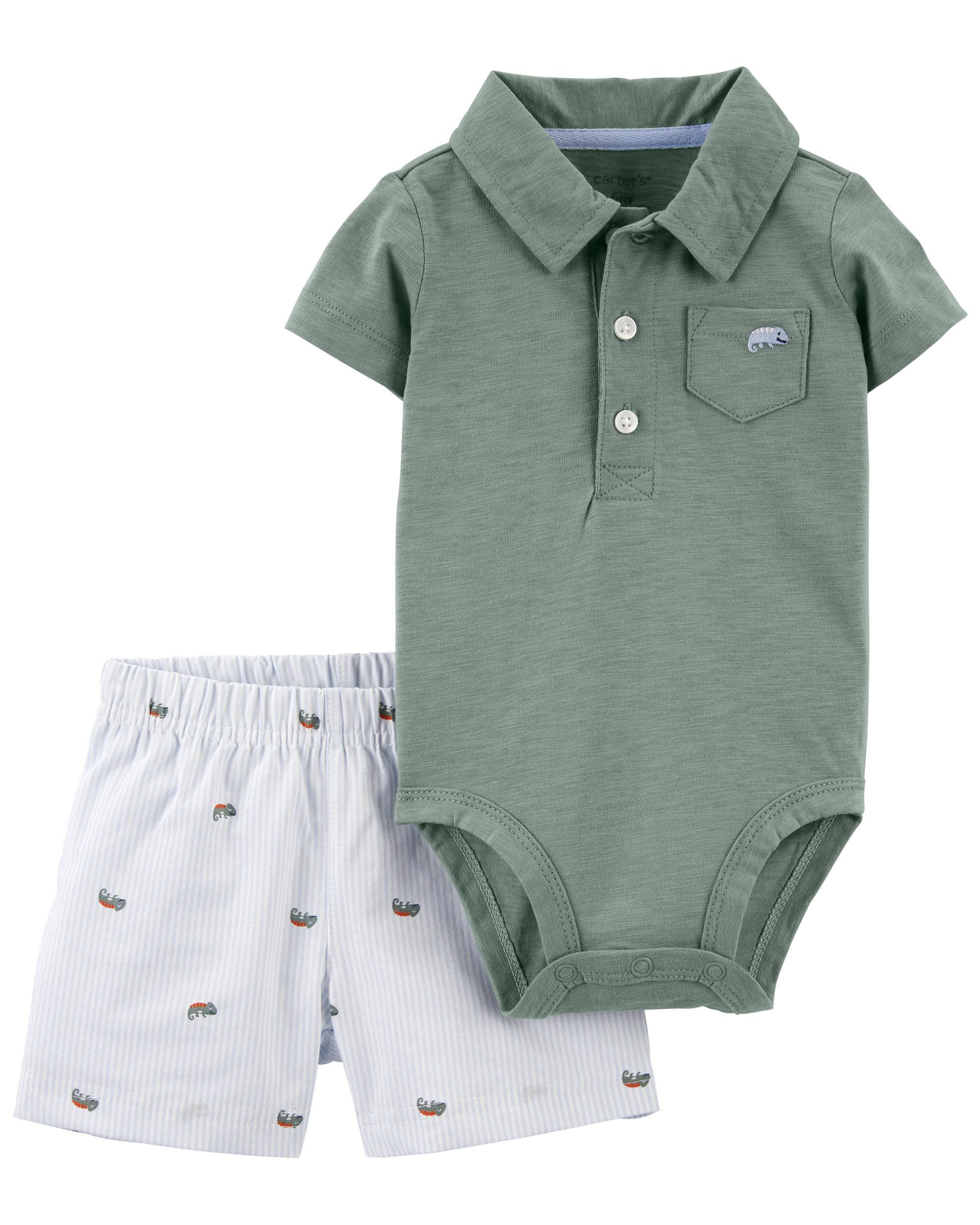 Carters 2-Piece Polo Bodysuit & Short Set