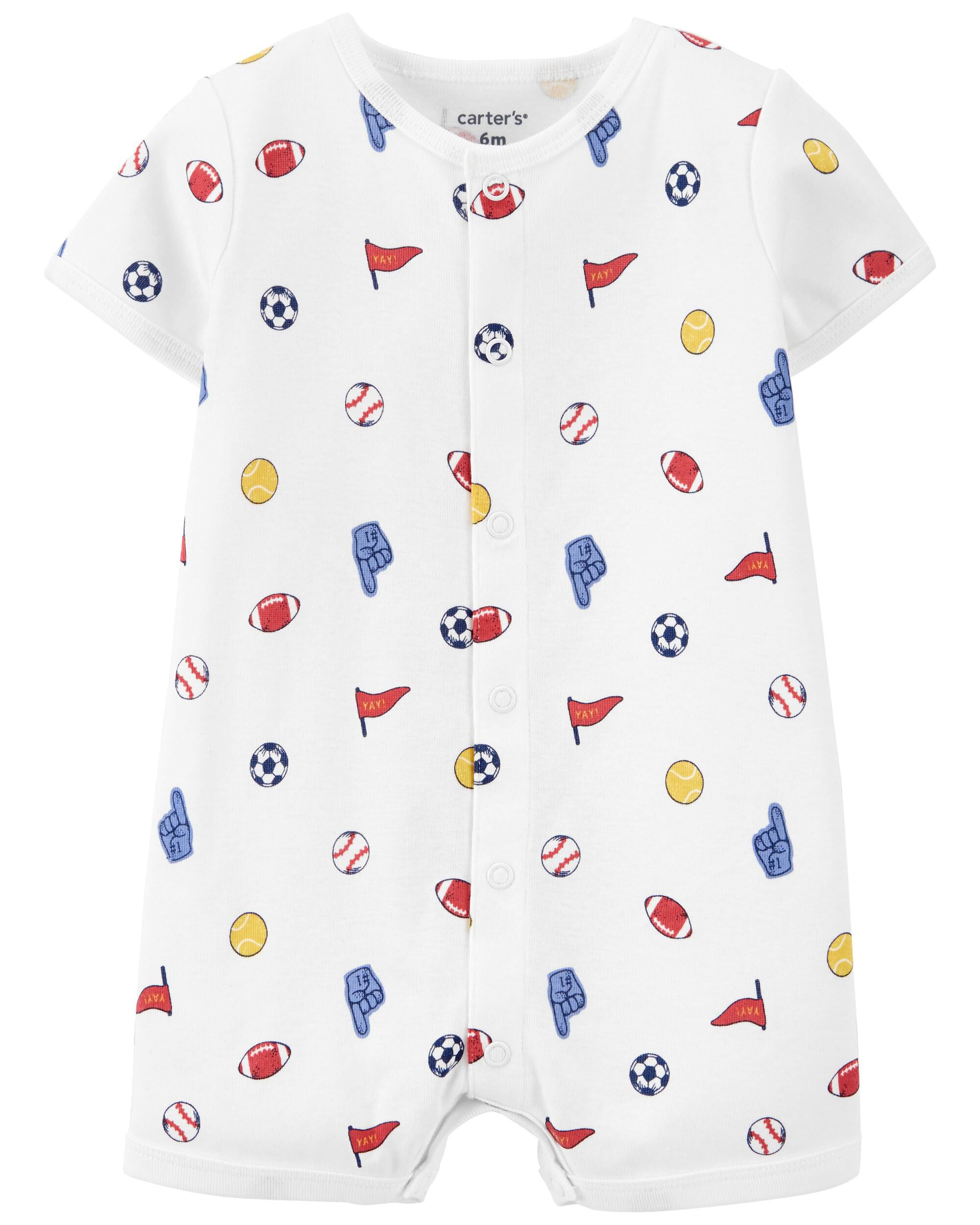 Carters Sports Print Snap-Up Romper