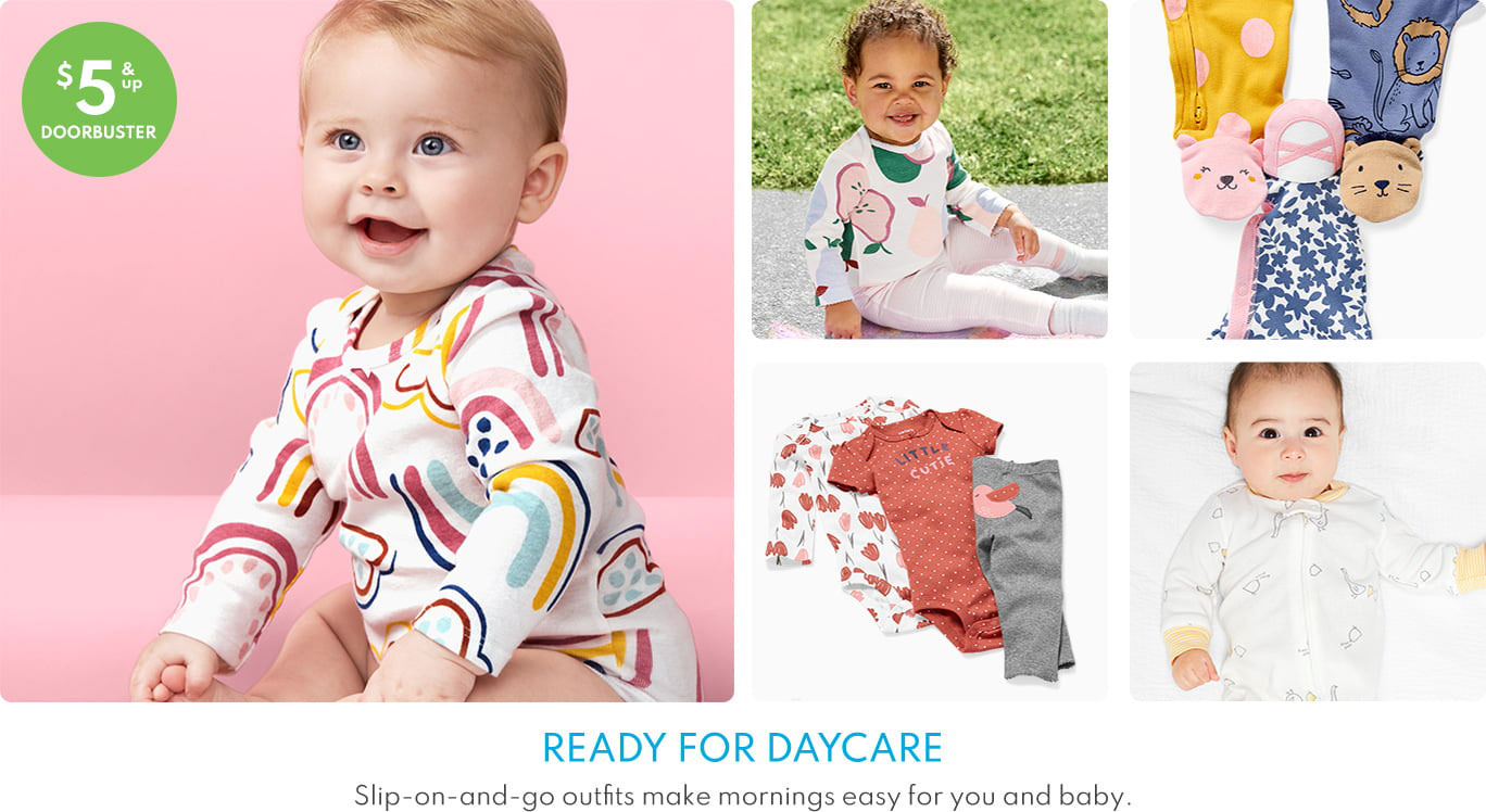 Carter's: Up to 50% off Sale Plus Buy More Save More Shoes and Socks, Bold Basics $6+ and Baby $5+ Slogans, Sleep and Play, and Little Character.