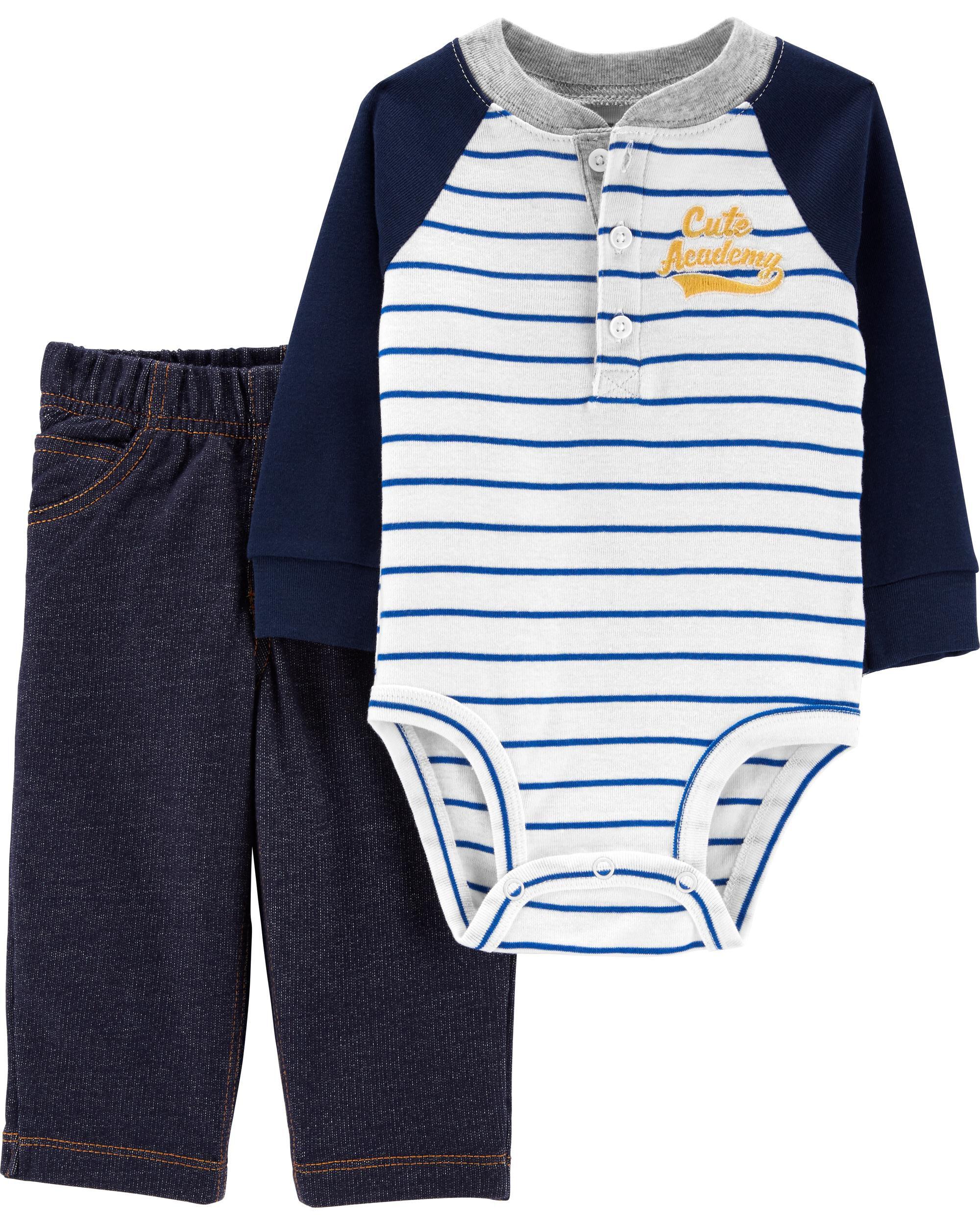 *Clearance*  2-Piece Henley Bodysuit Pant Set