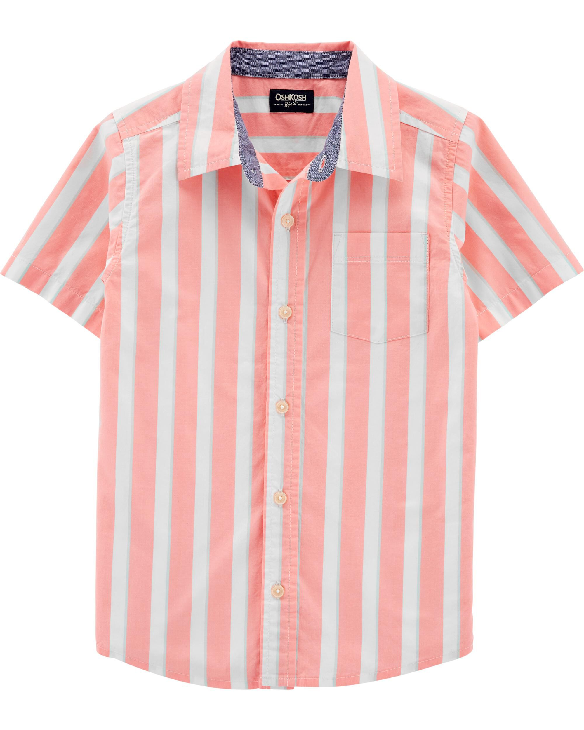 *Clearance*  Striped Short Sleeve Button-Front S...