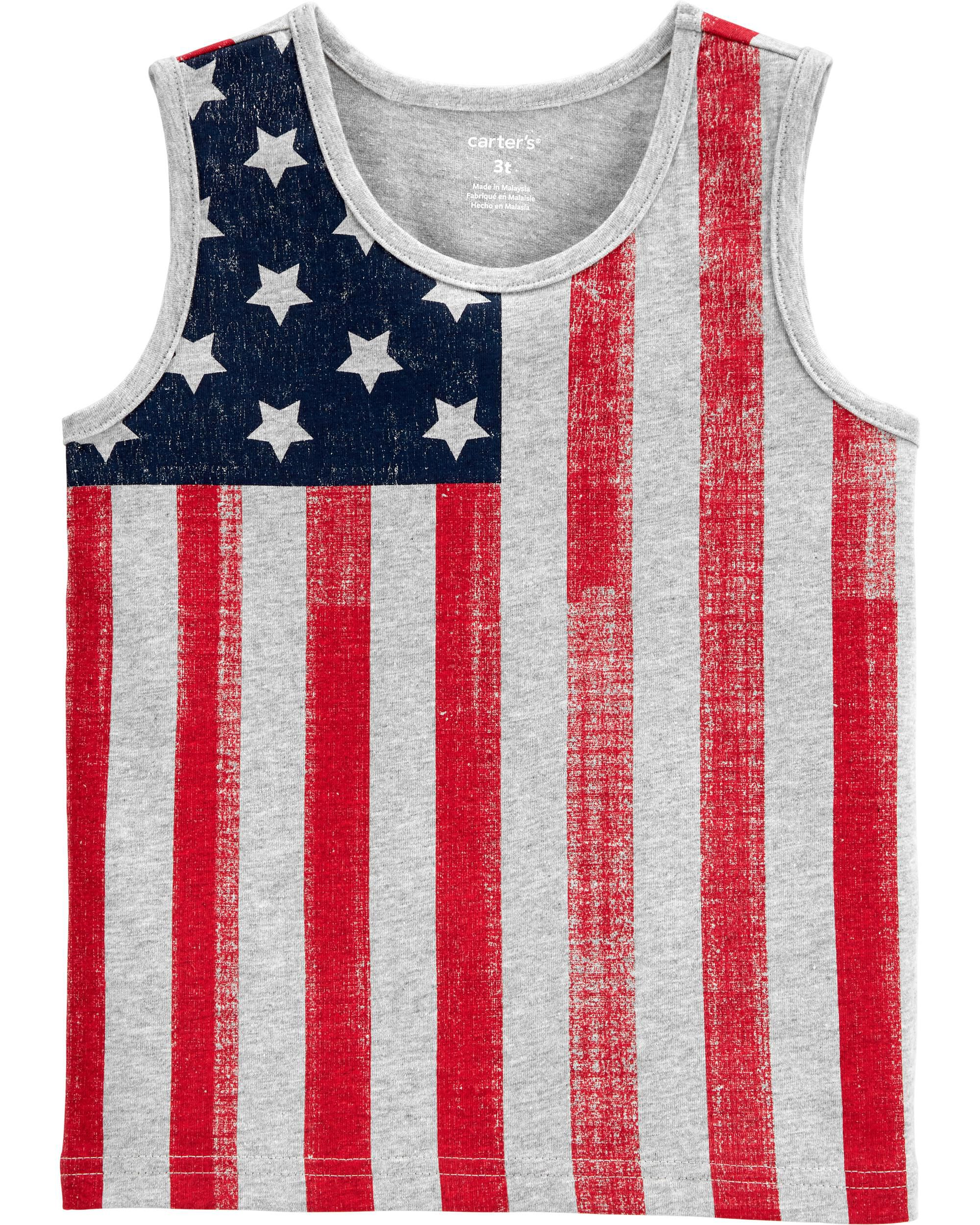 *Clearance*  4th Of July American Flag Jersey Ta...