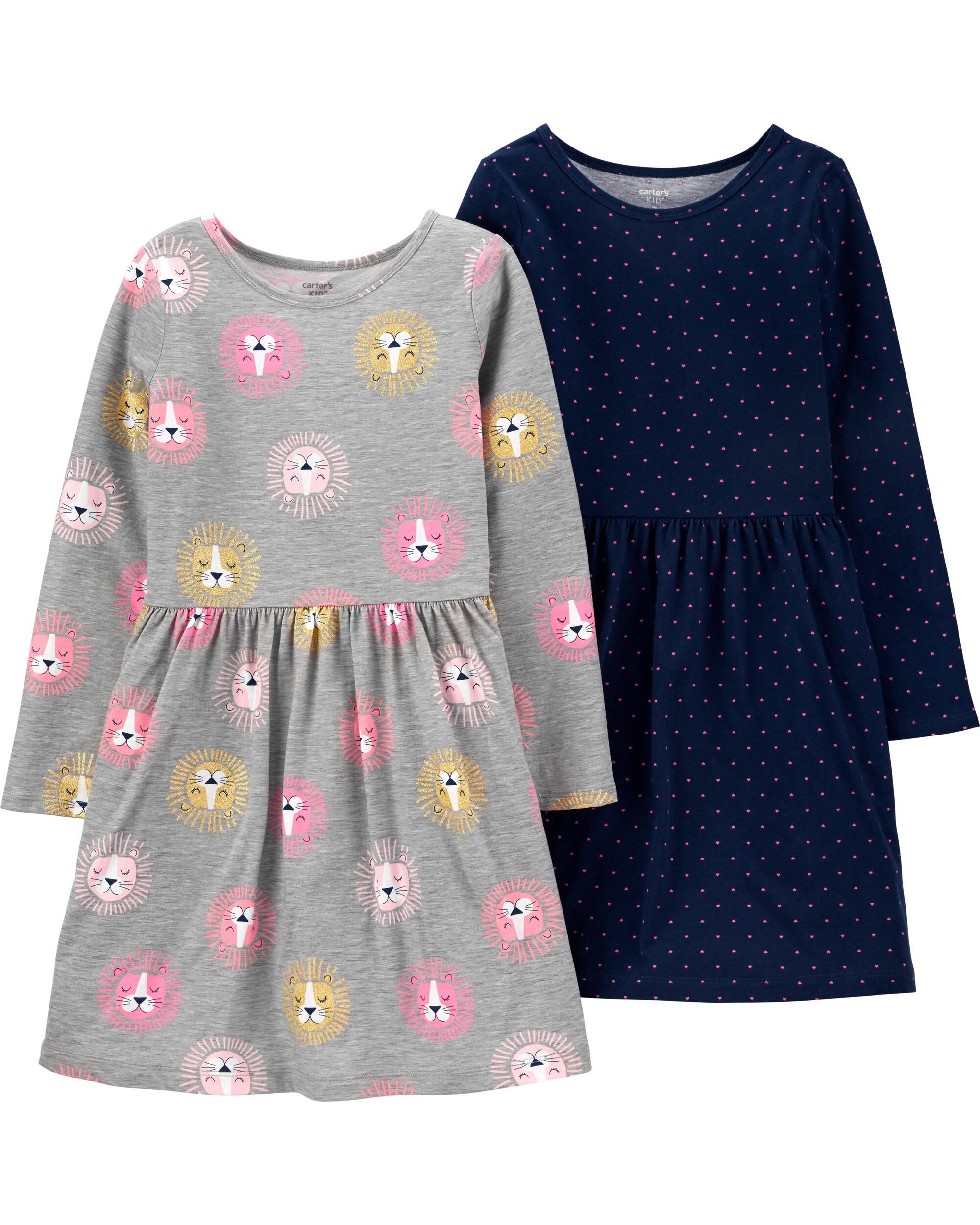 *Clearance*  2-Pack Lions & Hearts Jersey Dresse...