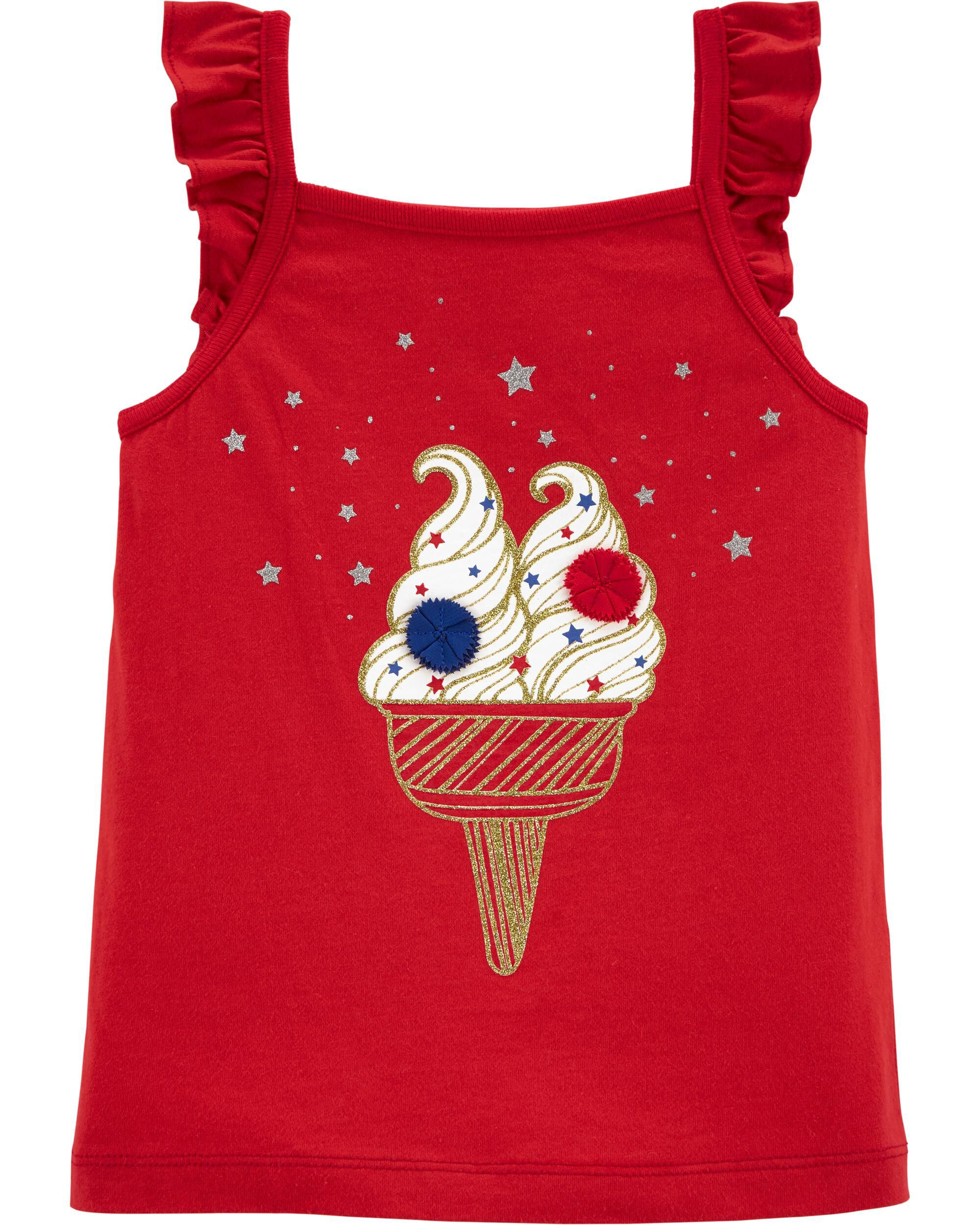 *Clearance*  Glitter 4th Of July Ice Cream Tank