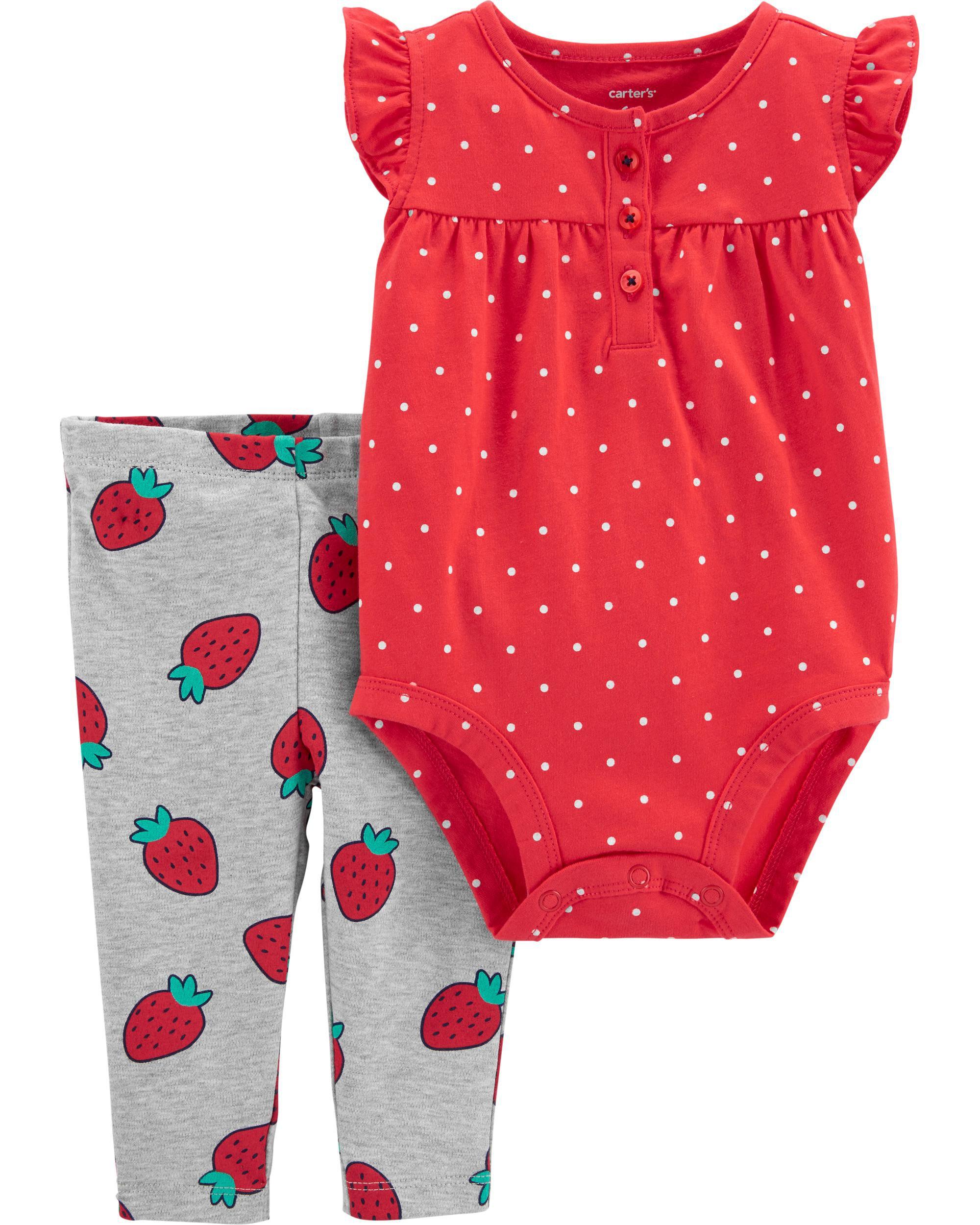*Clearance*  2-Piece Strawberry Bodysuit Pant Se...