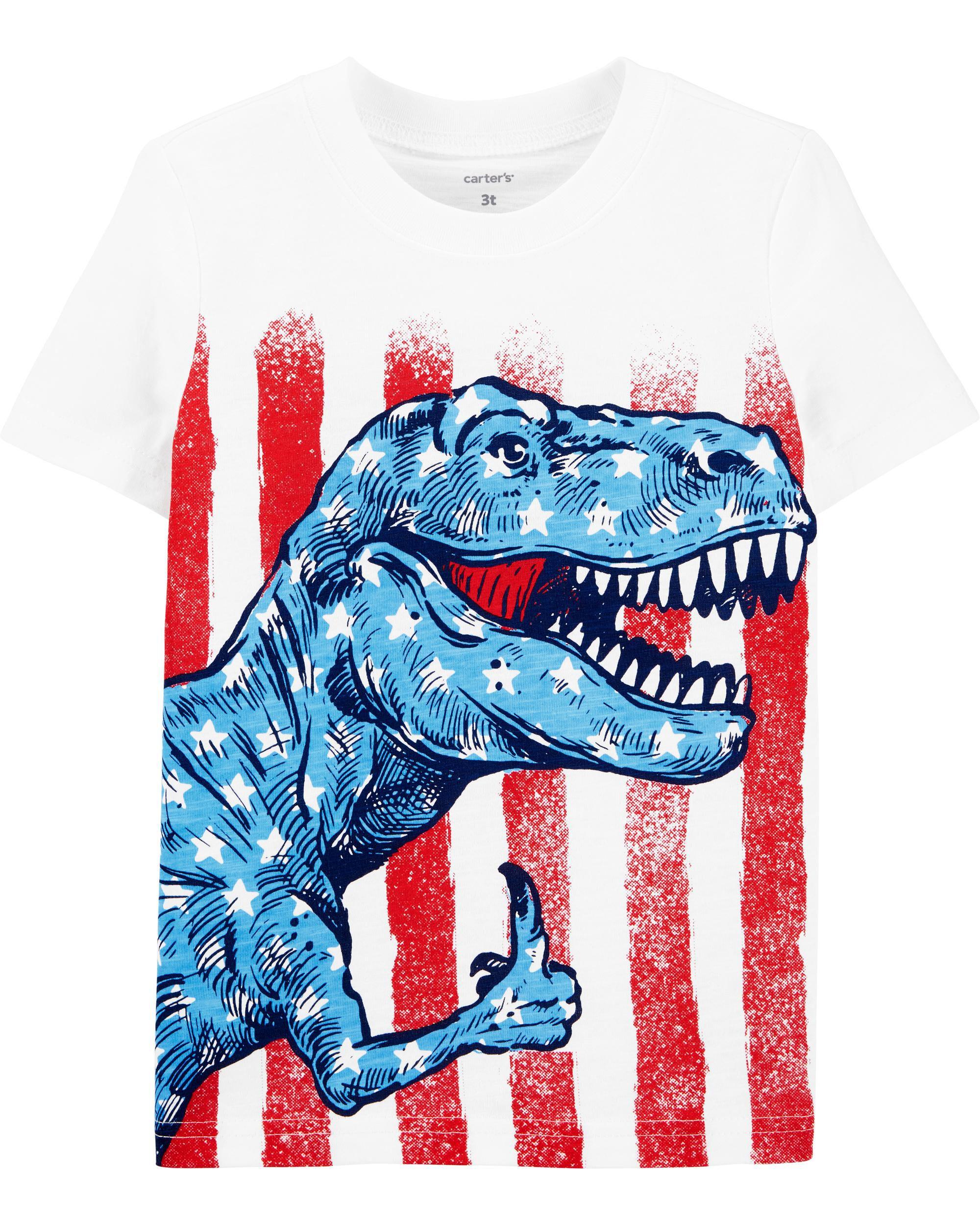 *Clearance*  4th Of July Dinosaur Slub Jersey Te...