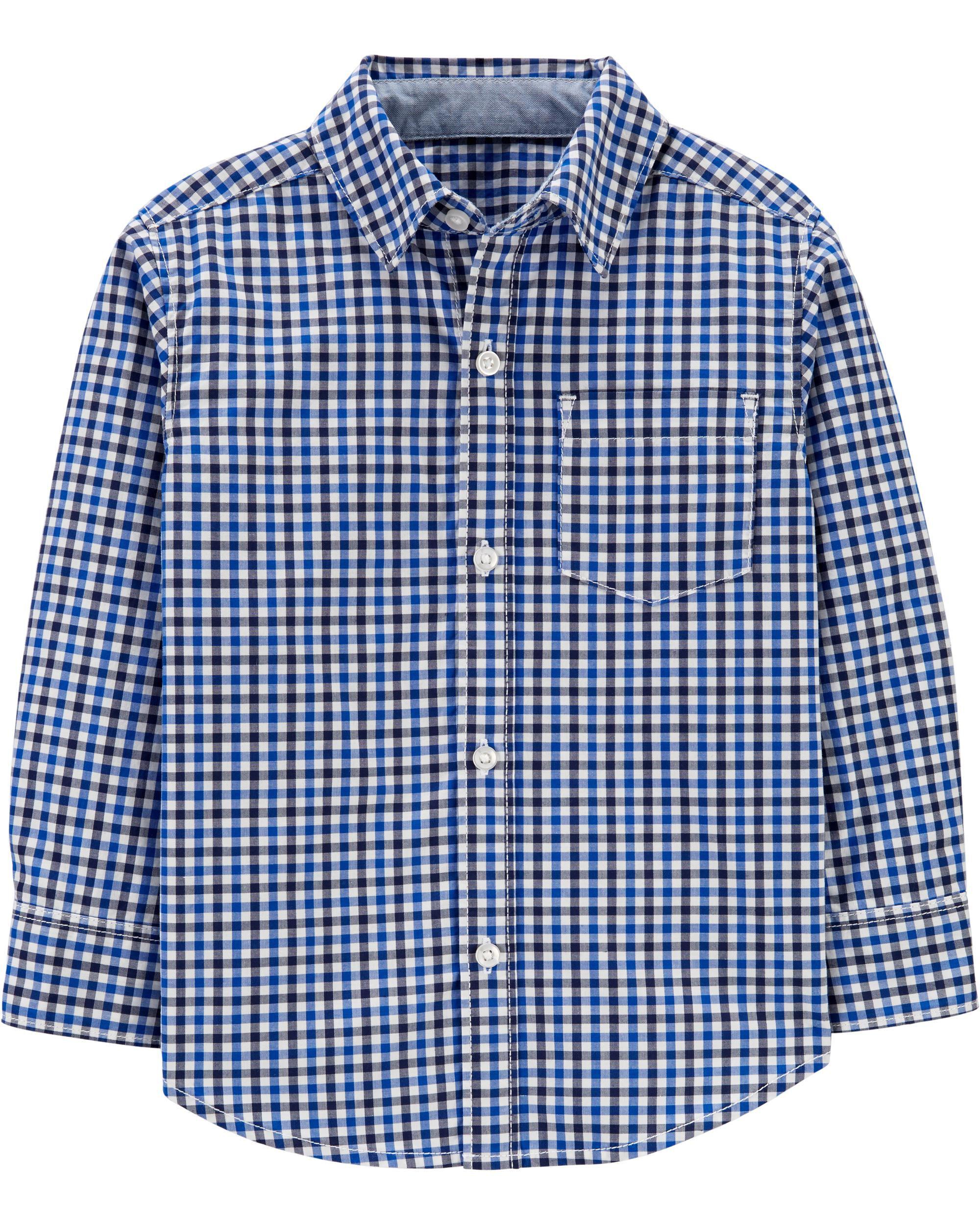 *Clearance*  Plaid Poplin Button-Front Shirt