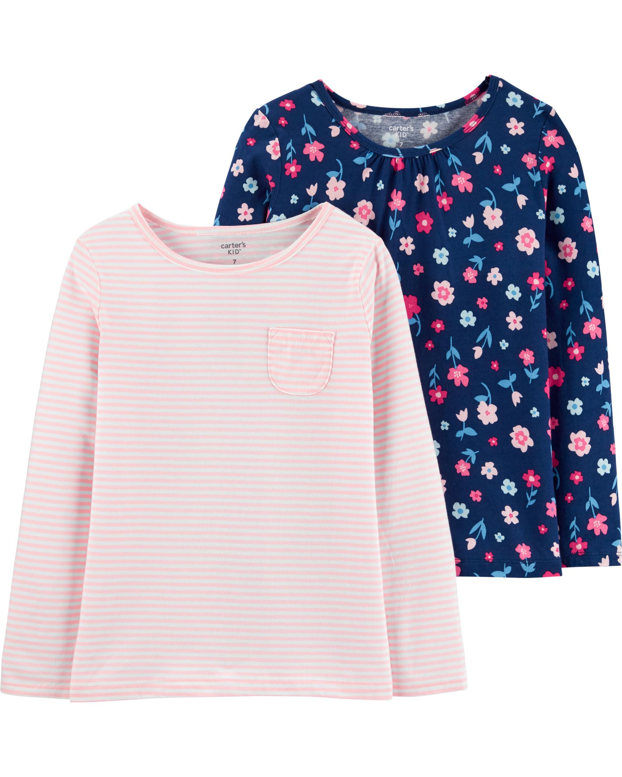 *Clearance*  2-Pack Floral & Striped Jersey Tees