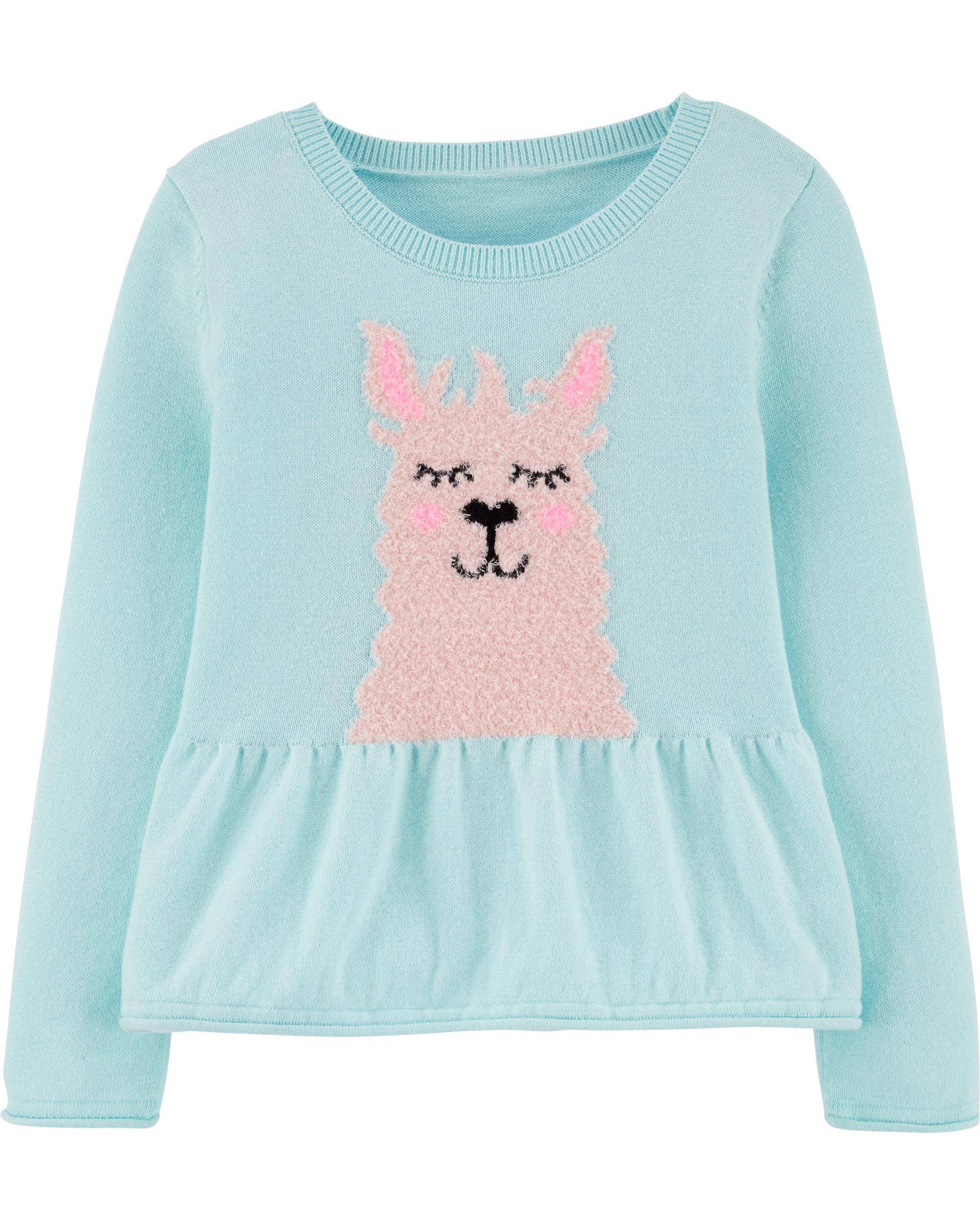 *Clearance*  Peplum Hem Llama Sweater