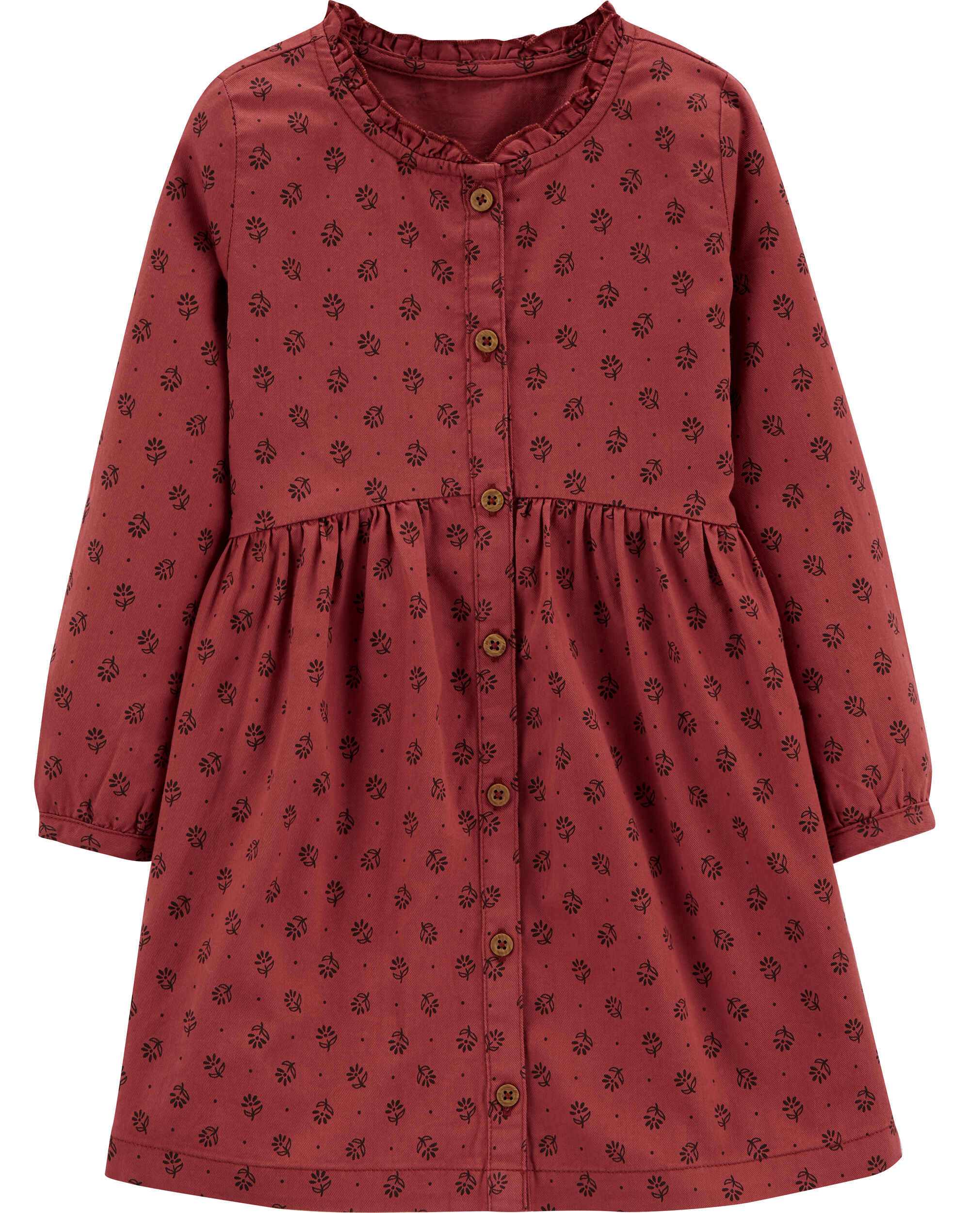 *Clearance*  Floral Button-Front Twill Dress