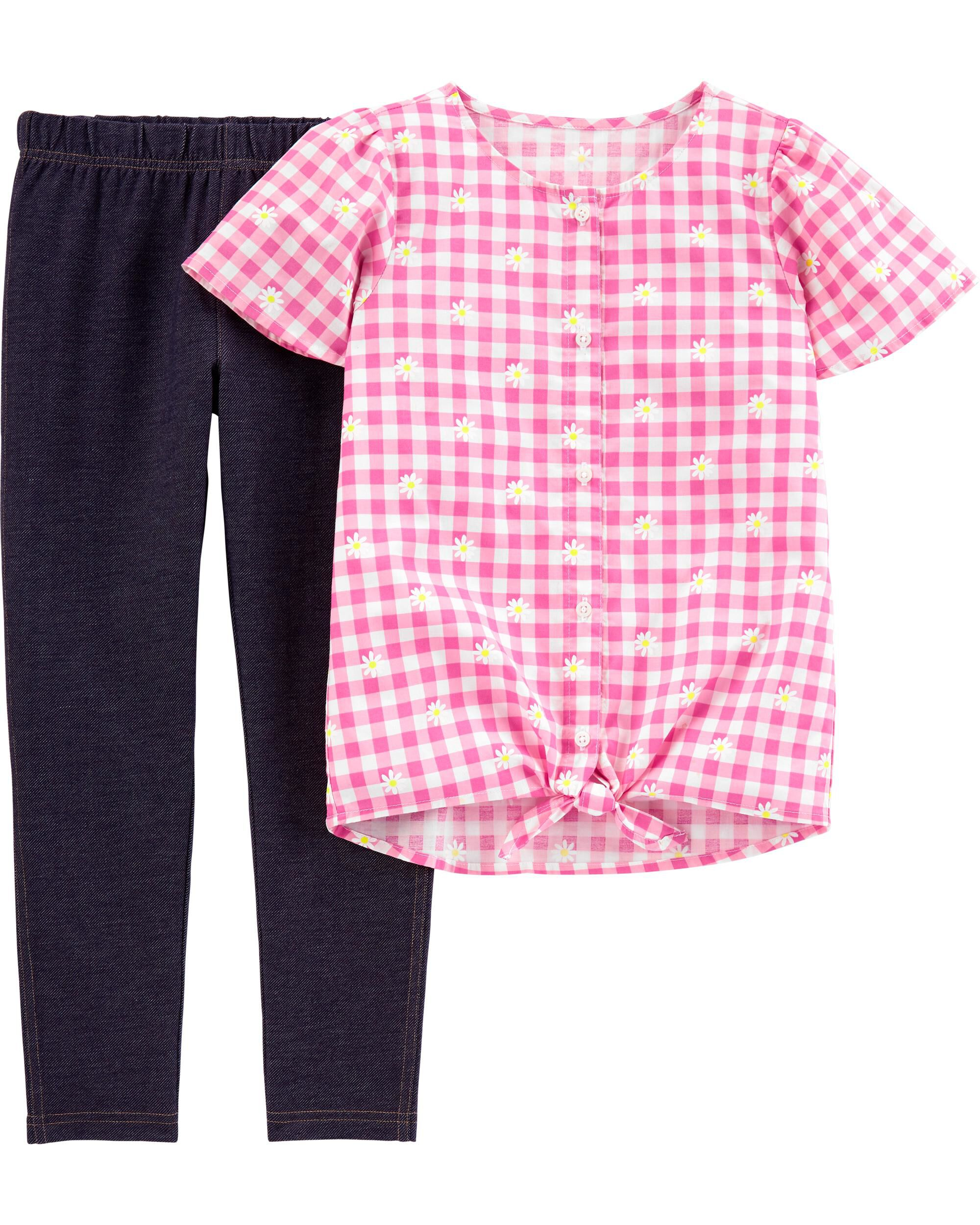 *Clearance*  2-Piece Floral Gingham Top & Knit D...