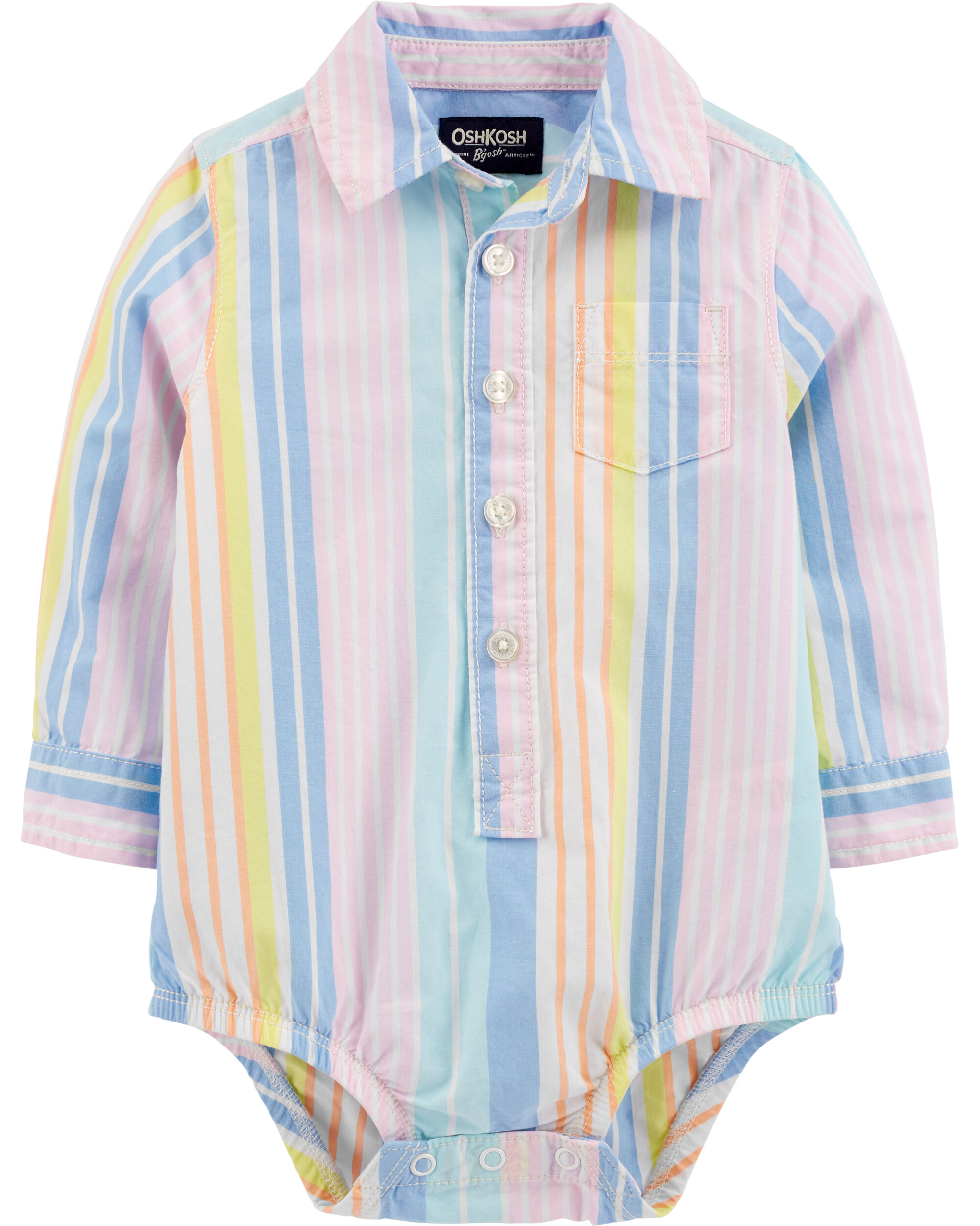 *Clearance*  Striped Button-Front Bodysuit