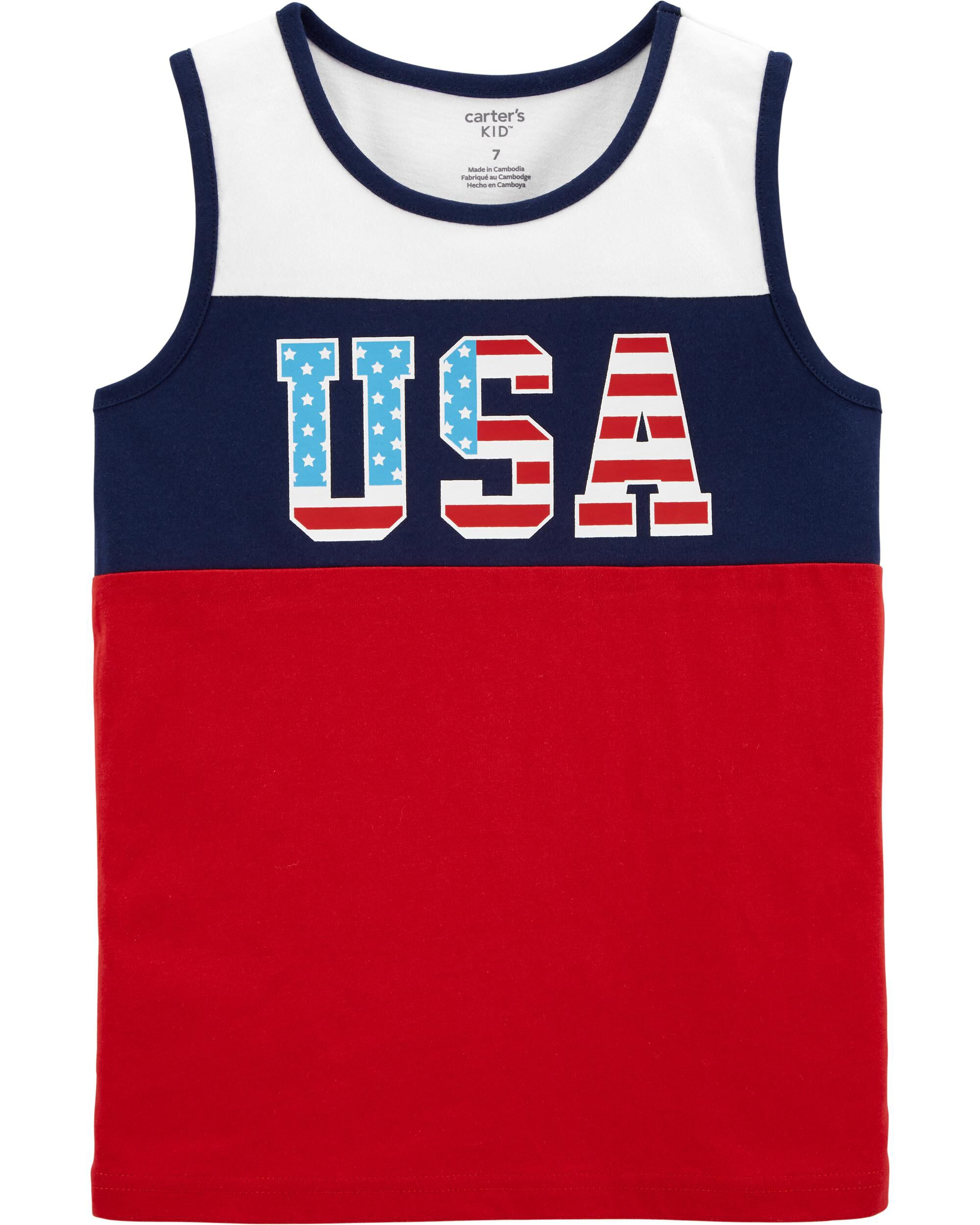 *Clearance*  4th Of July USA Jersey Tank