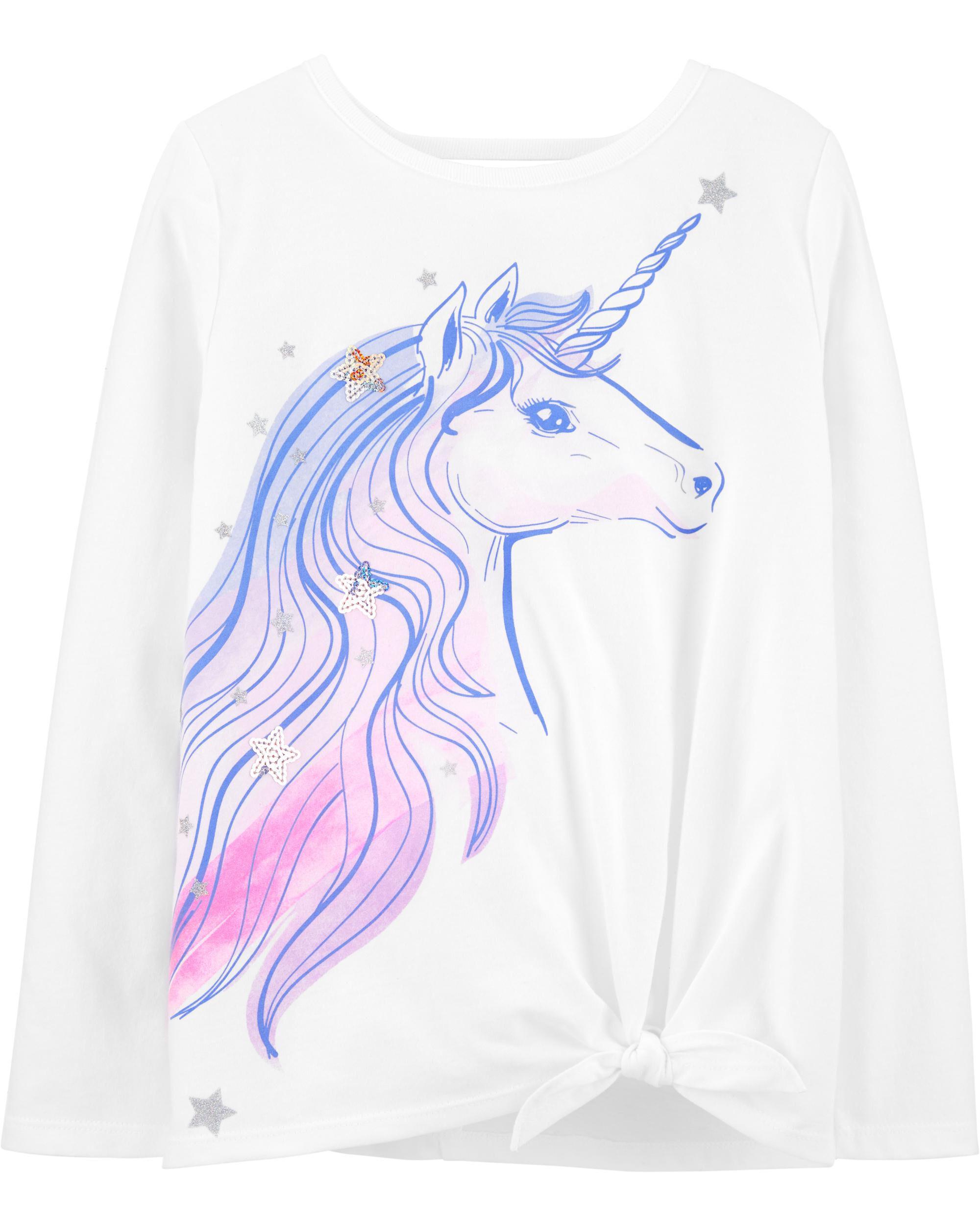 *Clearance*  Glitter Unicorn Tie-Front Jersey Te...