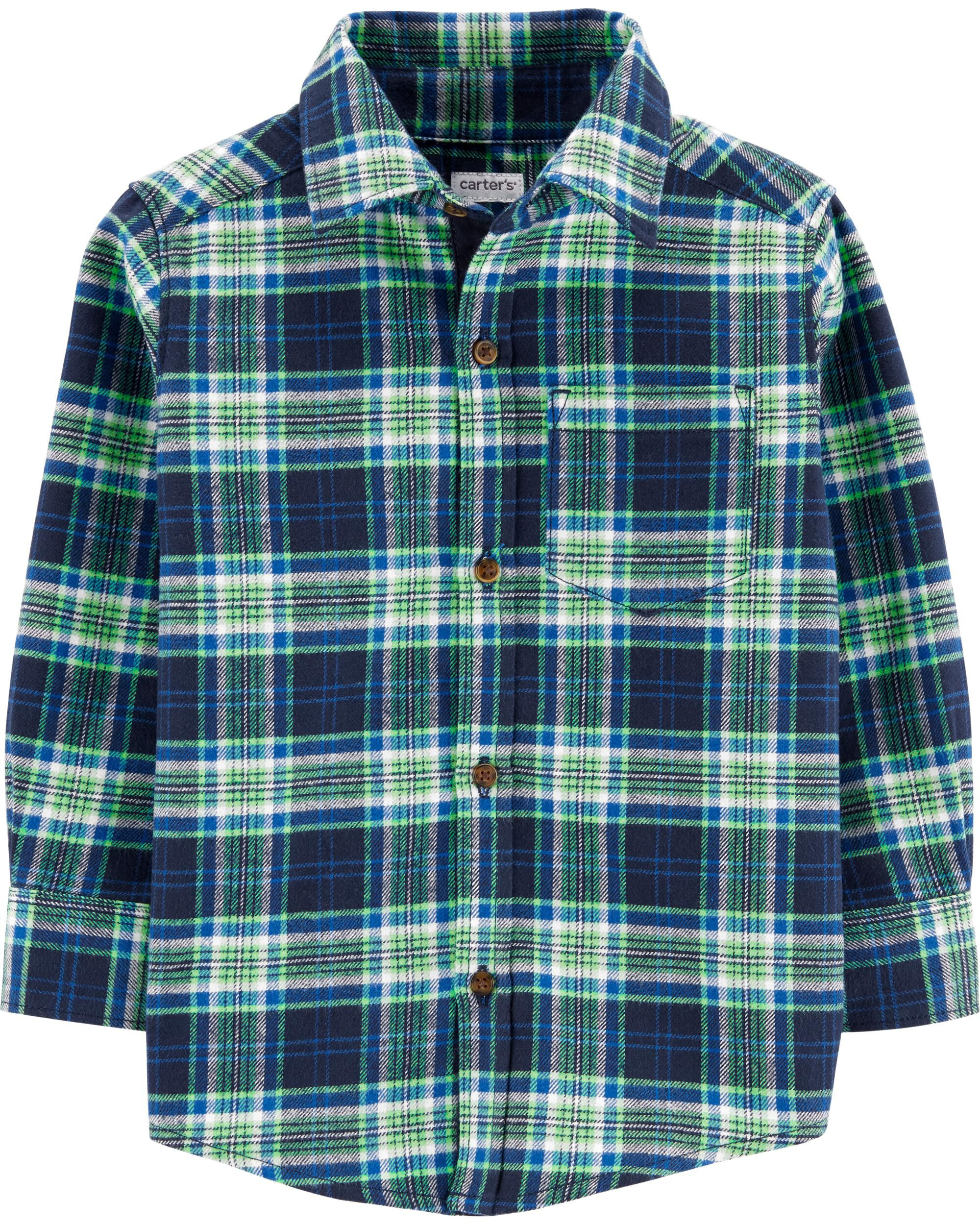 *Clearance*  Plaid Twill Flannel Button-Front Sh...