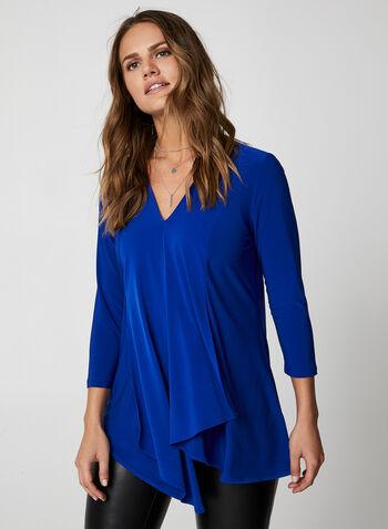 V-Neck Asymmetrical Tunic, Blue,  canada, top, asymmetrical top, 3/4 sleeves, v-neck, tunic, fall 2019, winter 2019